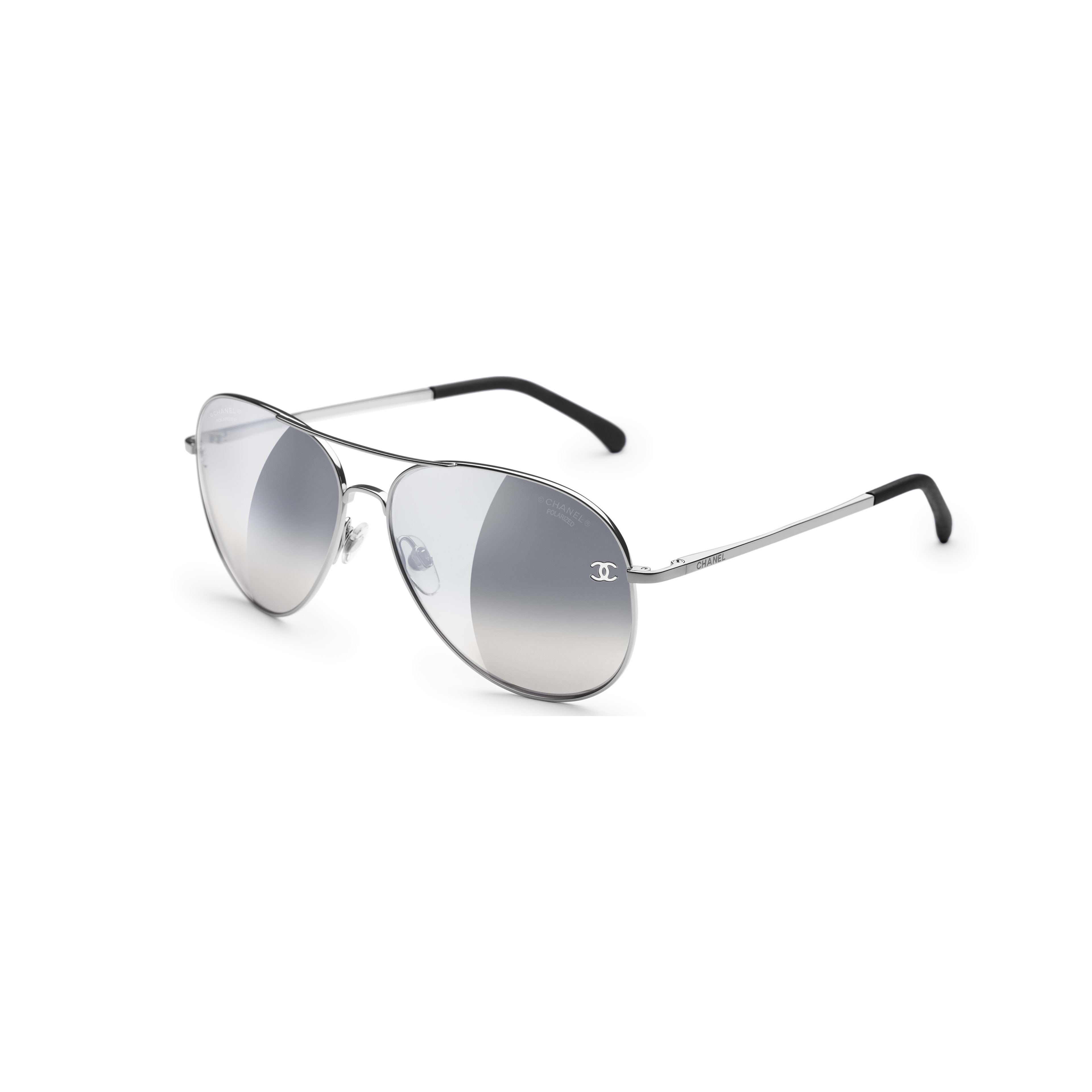 Pilot Sunglasses - Silver - Titanium & Calfskin - CHANEL - Extra view - see standard sized version