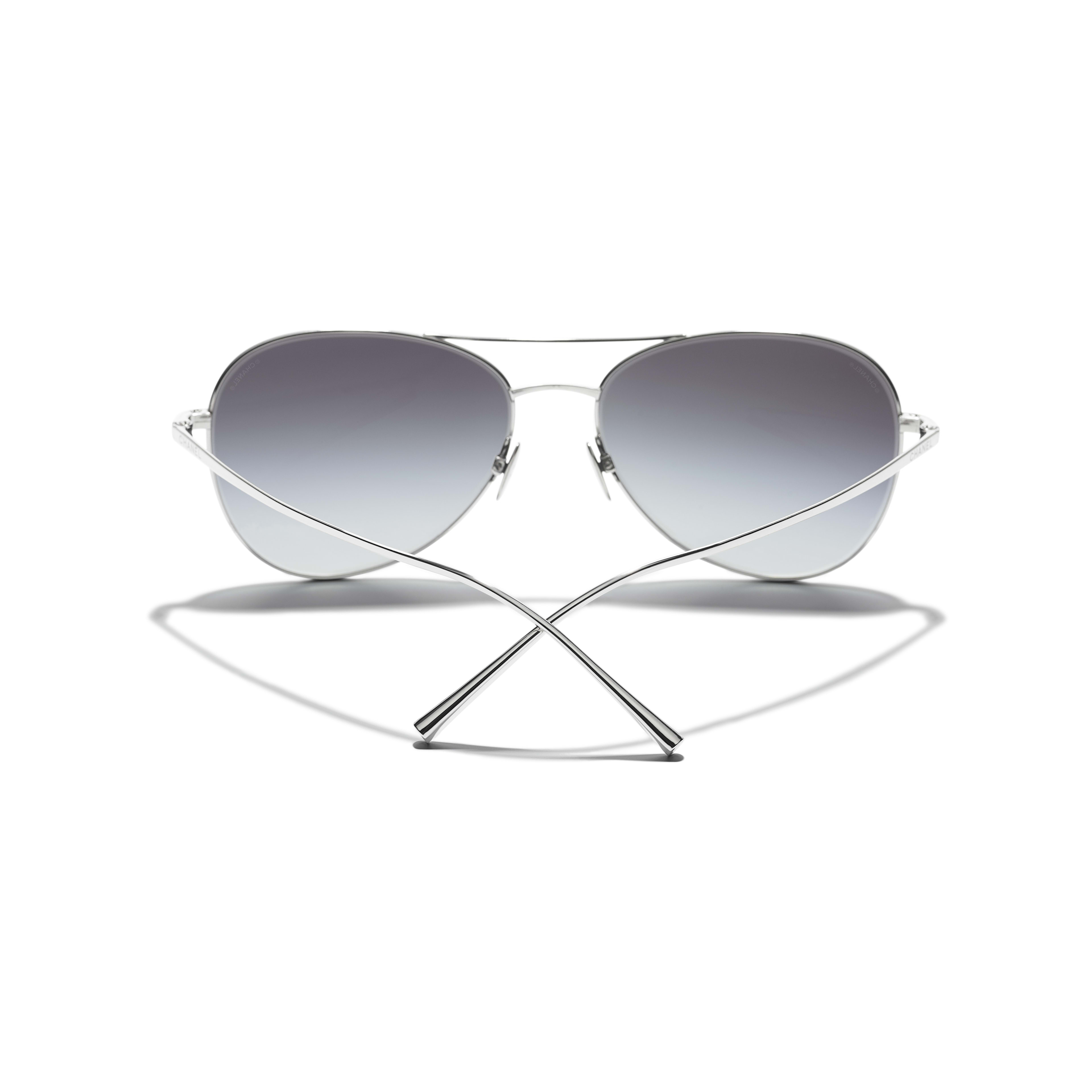 Pilot Sunglasses - Silver - Titanium - Extra view - see standard sized version