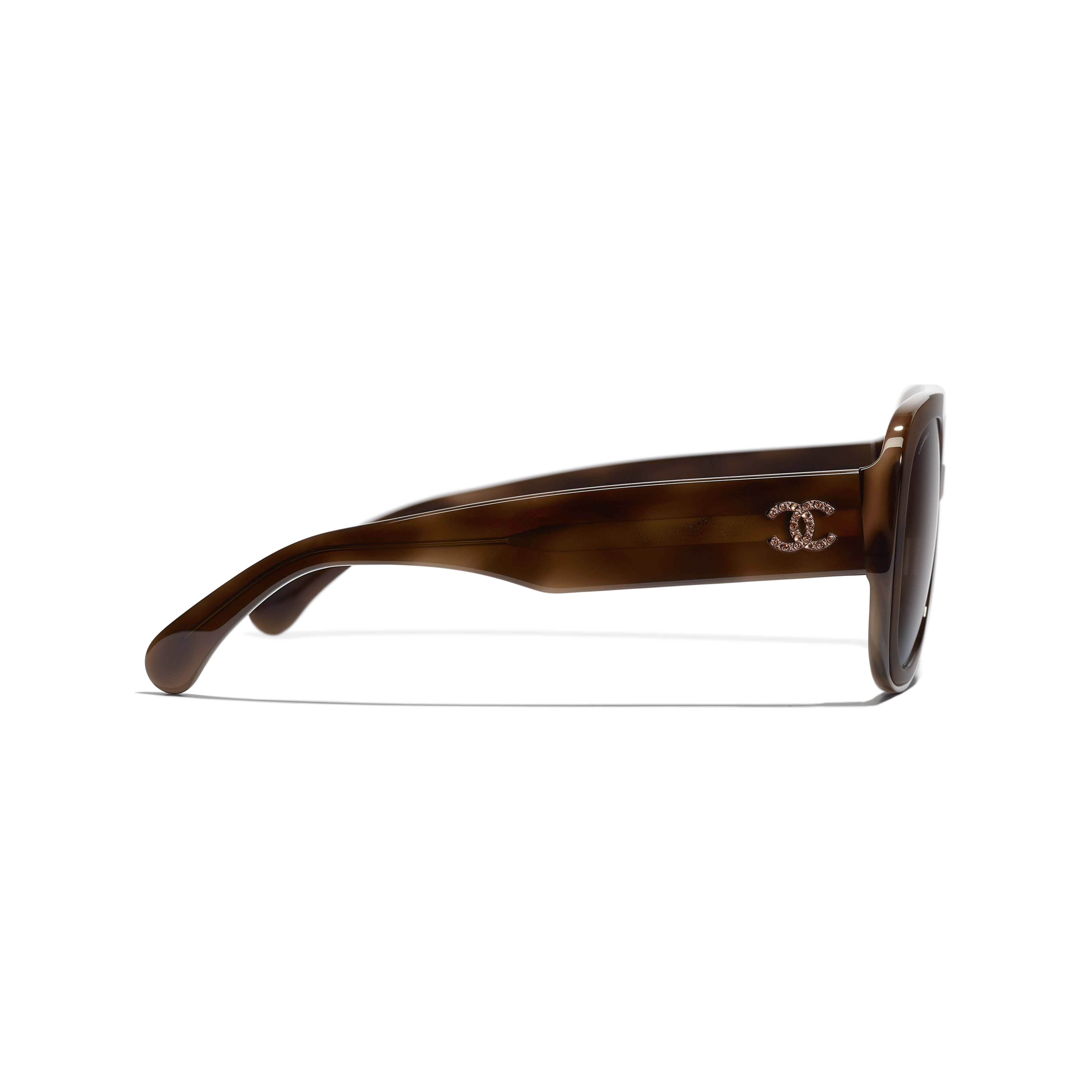 Pilot Sunglasses - Tortoise - Acetate & Diamanté - CHANEL - Other view - see standard sized version