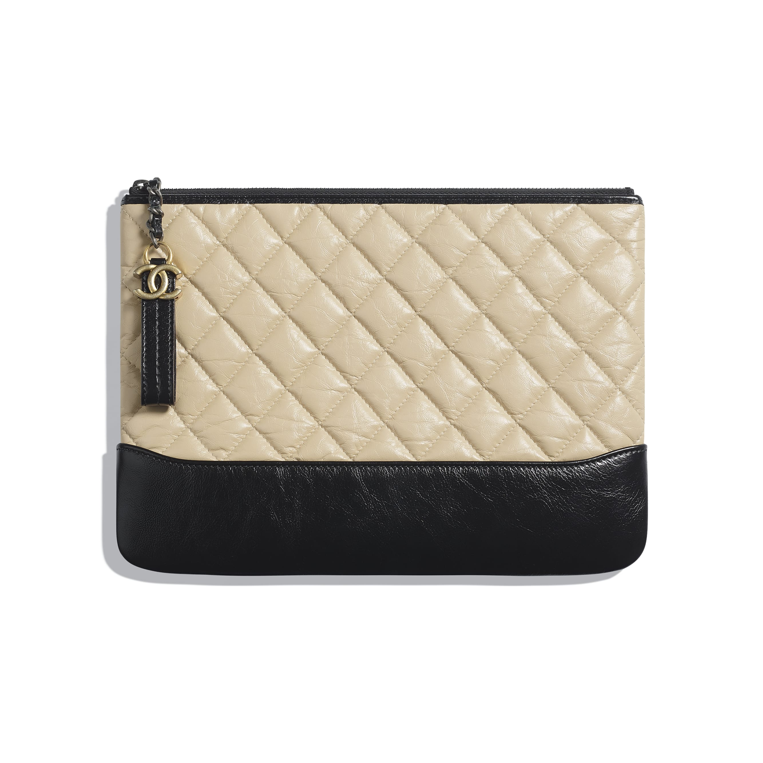 Pouch - Beige & Black - Aged Calfskin, Smooth Calfskin & Gold-Tone Metal - CHANEL - Default view - see standard sized version
