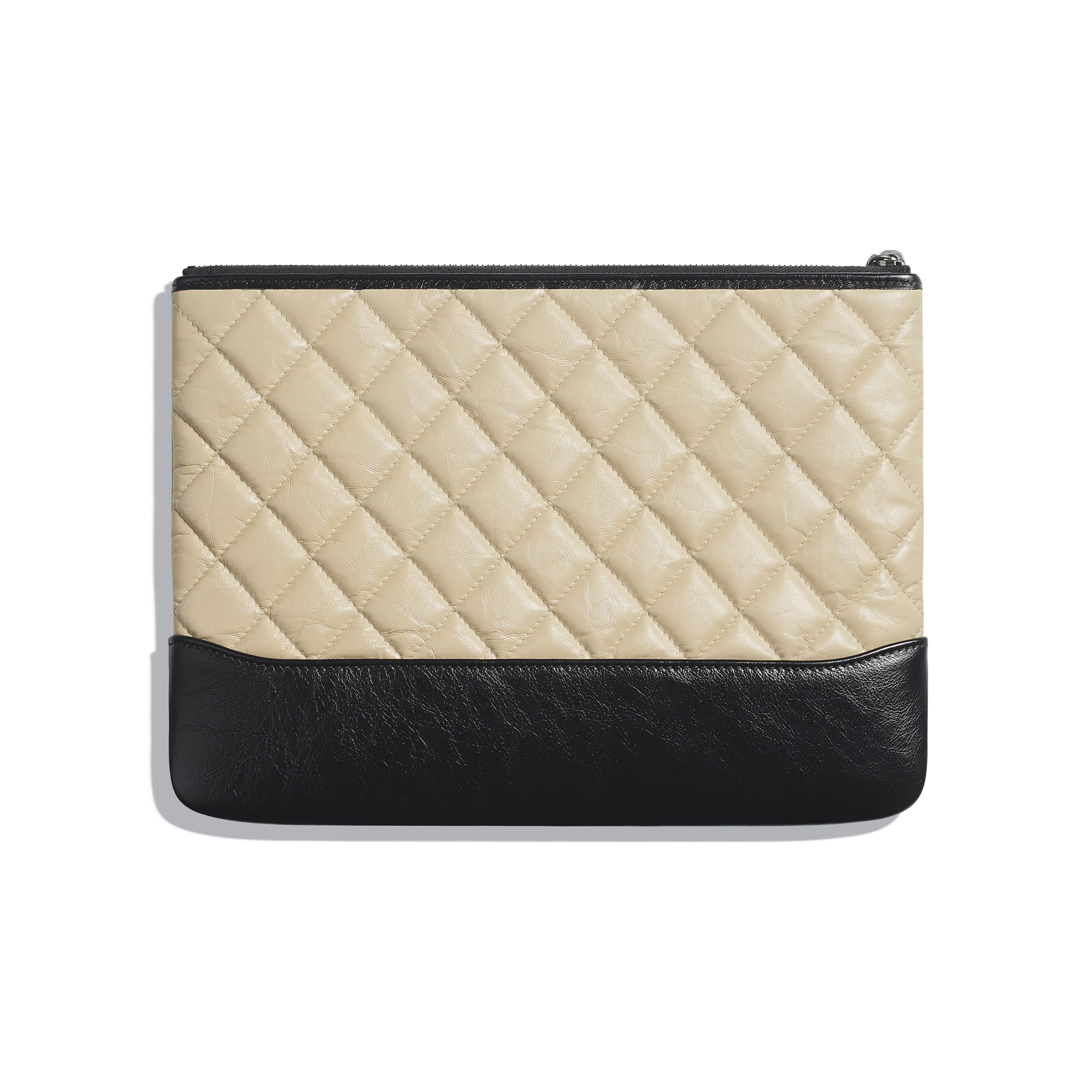 Pouch - Beige & Black - Aged Calfskin, Smooth Calfskin, Silver-Tone & Gold-Tone Metal - Alternative view - see standard sized version