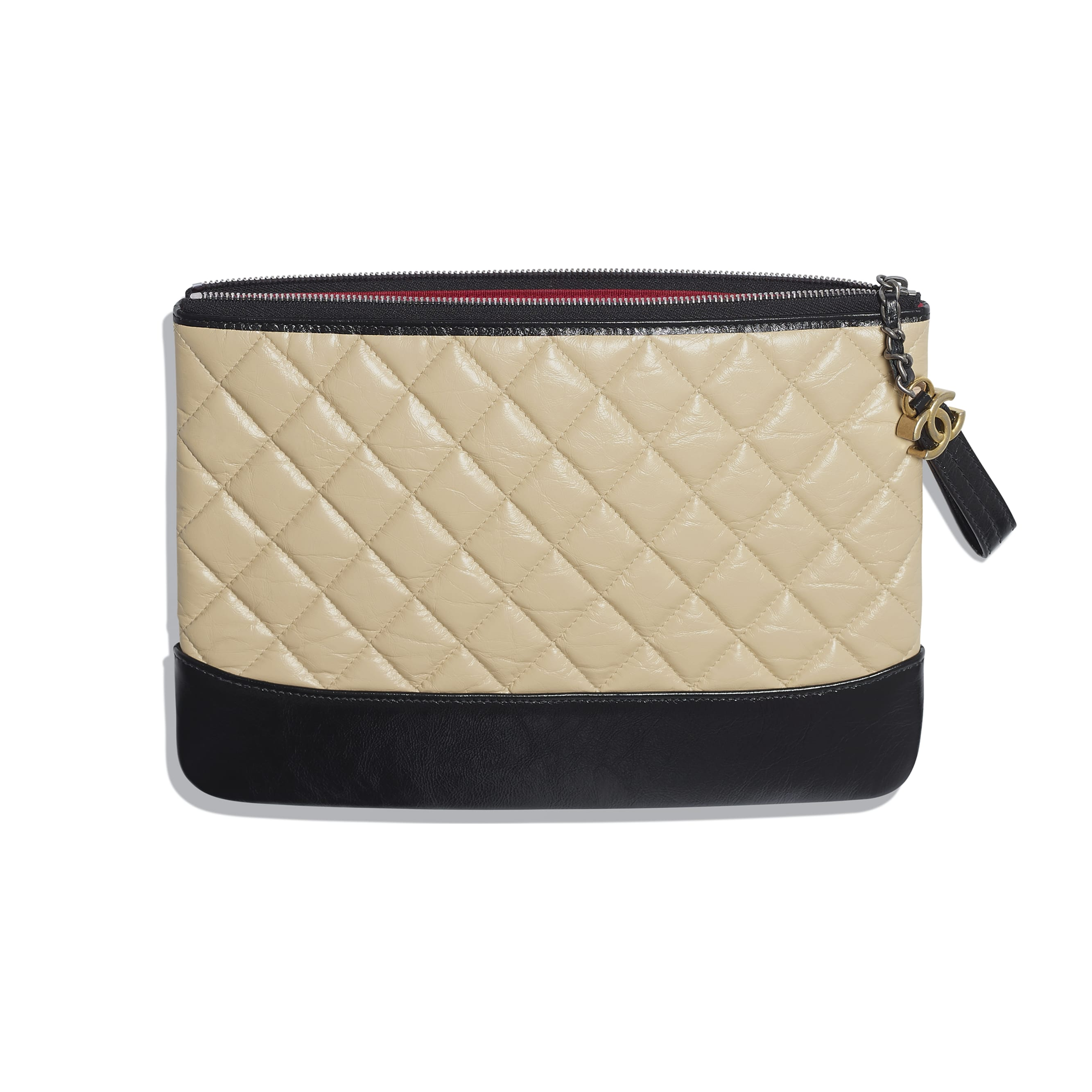Pouch - Beige & Black - Aged Calfskin, Smooth Calfskin, Silver-Tone & Gold-Tone Metal - Other view - see standard sized version