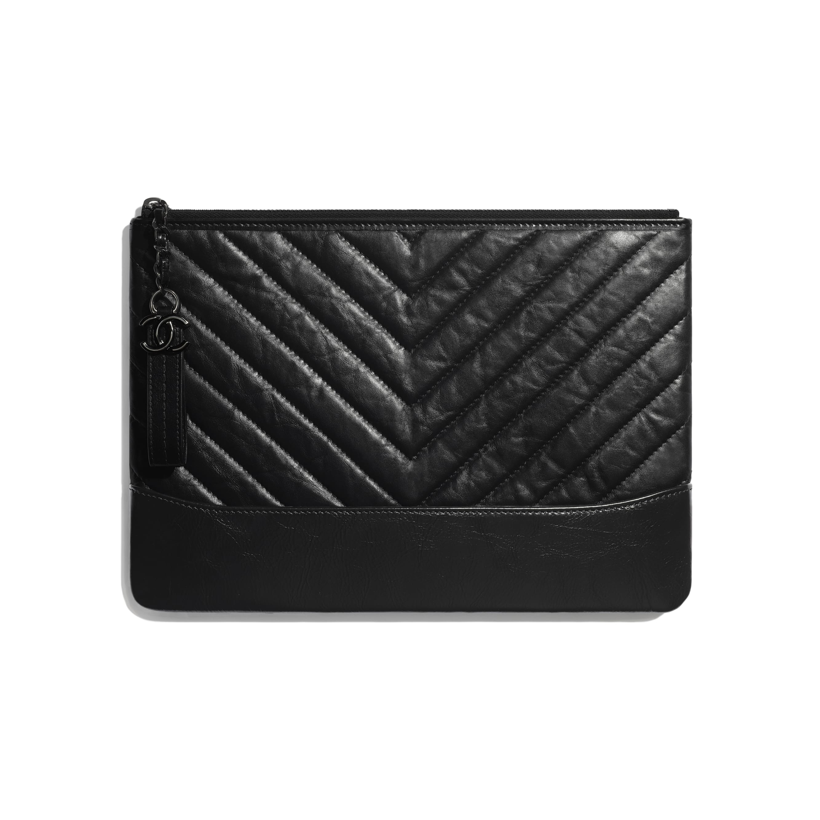 Pouch - Black - Aged Calfskin, Smooth Calfskin & Black Metal - Default view - see standard sized version