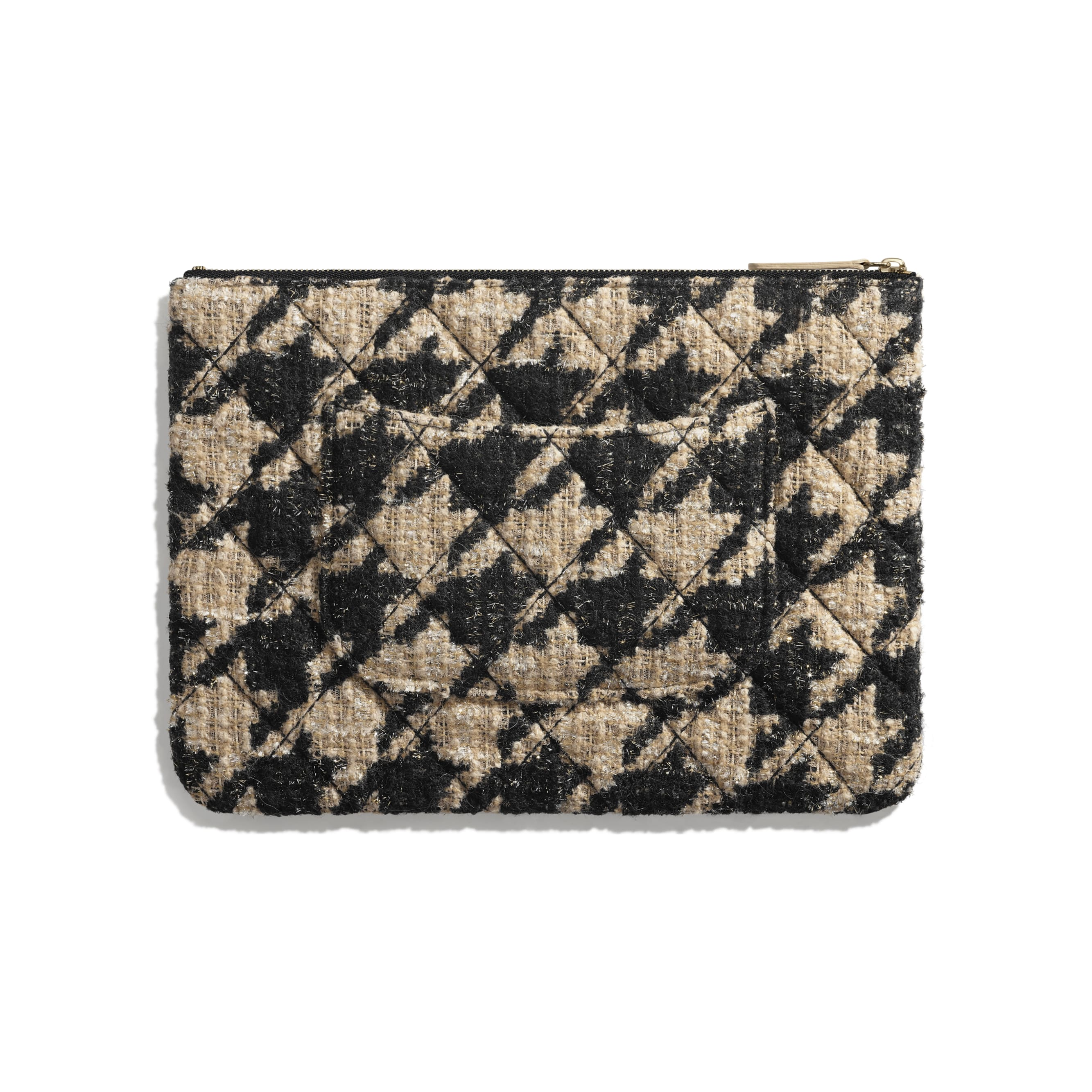 Pouch - Black & Beige - Tweed, Shearling Sheepskin & Gold-Tone Metal - Alternative view - see standard sized version