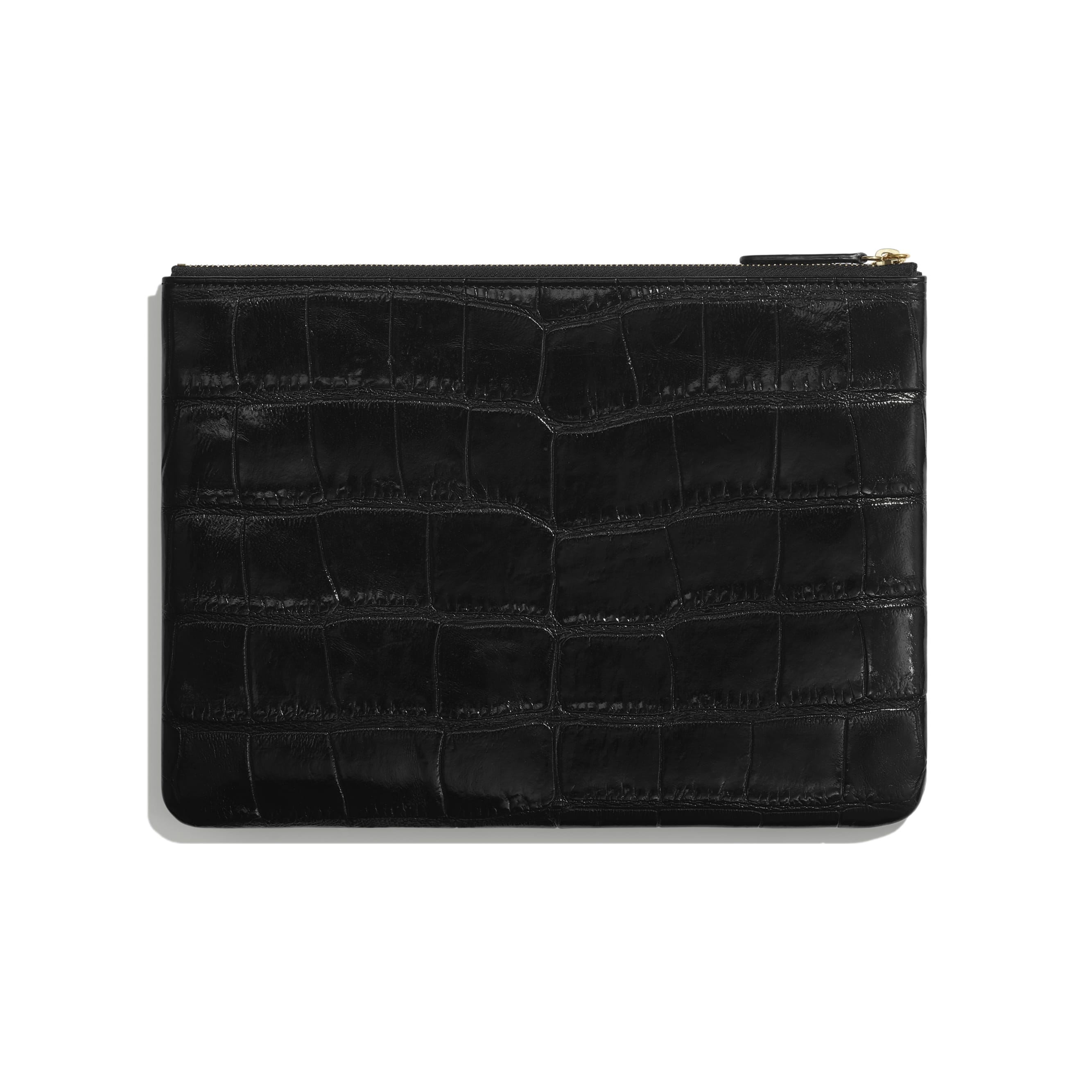 Pouch - Black & Gold - Crocodile Embossed Patent Calfskin & Gold-Tone Metal - Alternative view - see standard sized version
