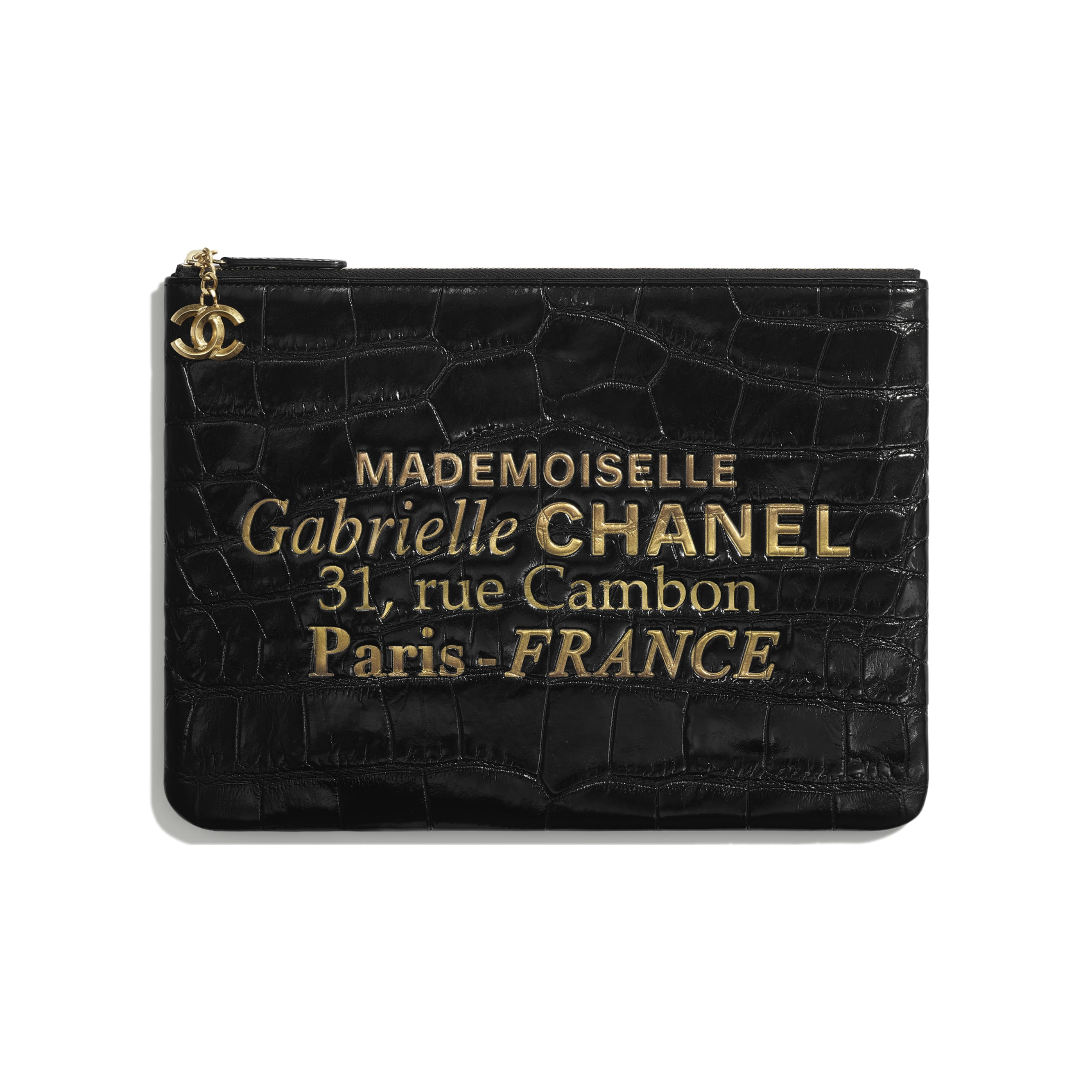 Pouch - Black & Gold - Crocodile Embossed Patent Calfskin & Gold-Tone Metal - Default view - see standard sized version