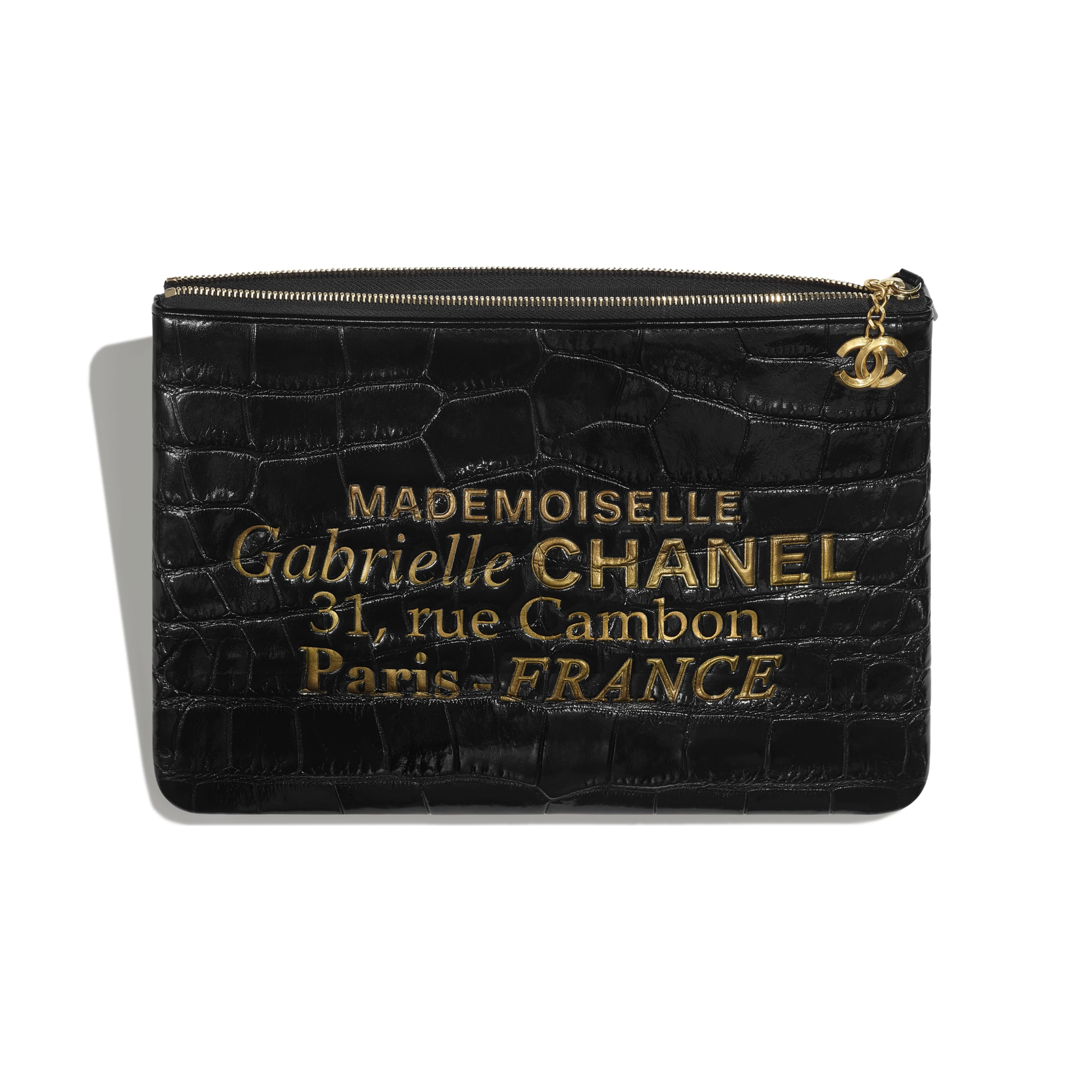 Pouch - Black & Gold - Crocodile Embossed Patent Calfskin & Gold-Tone Metal - Other view - see standard sized version