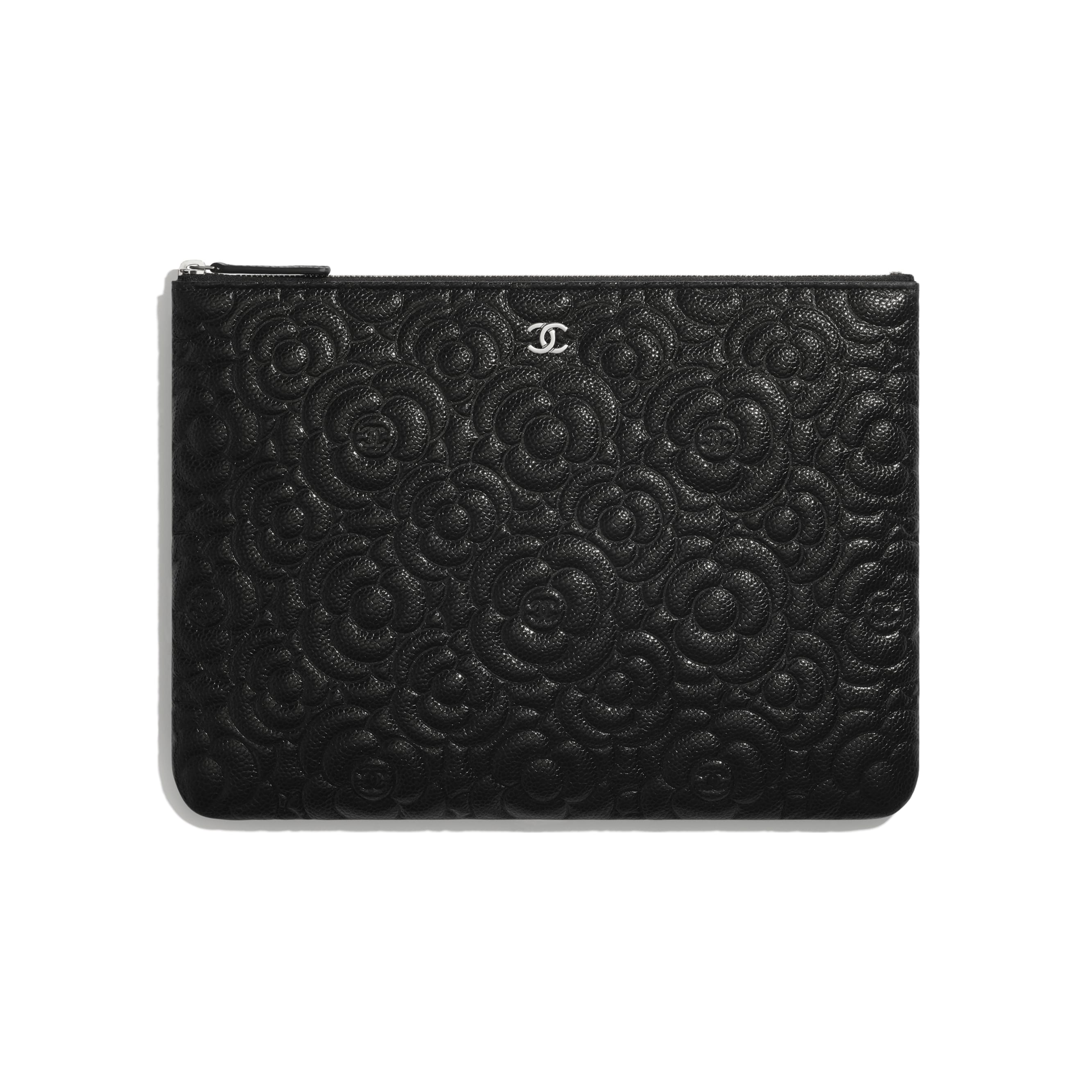 Pouch - Black - Grained Calfskin & Silver Metal - CHANEL - Default view - see standard sized version