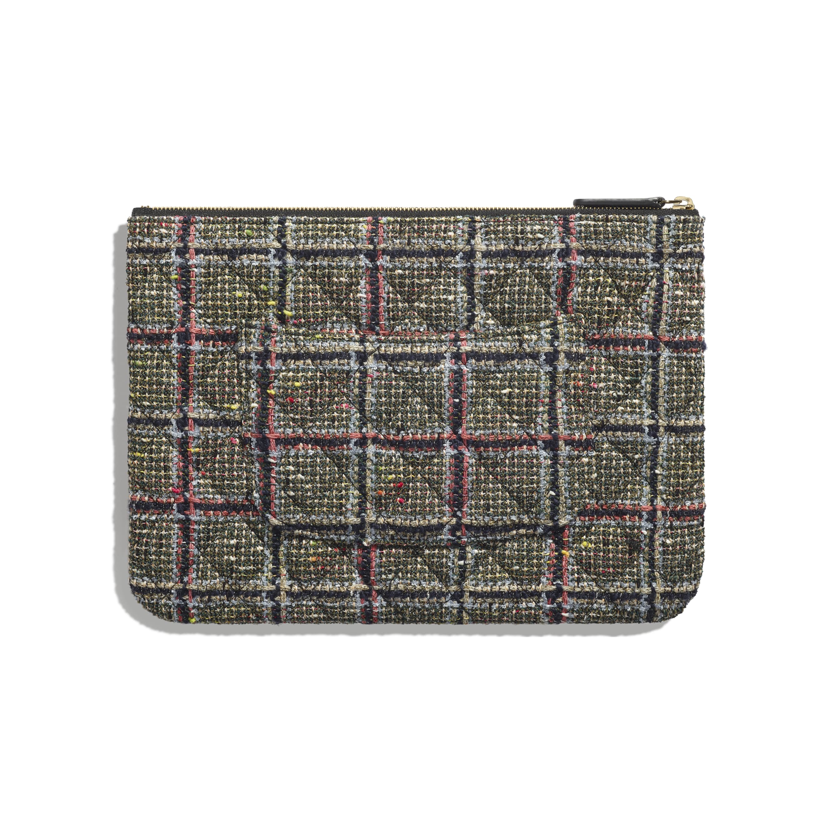Pouch -  Black, Khaki, Grey & Red - Tweed, Lambskin & Gold Metal - Alternative view - see standard sized version