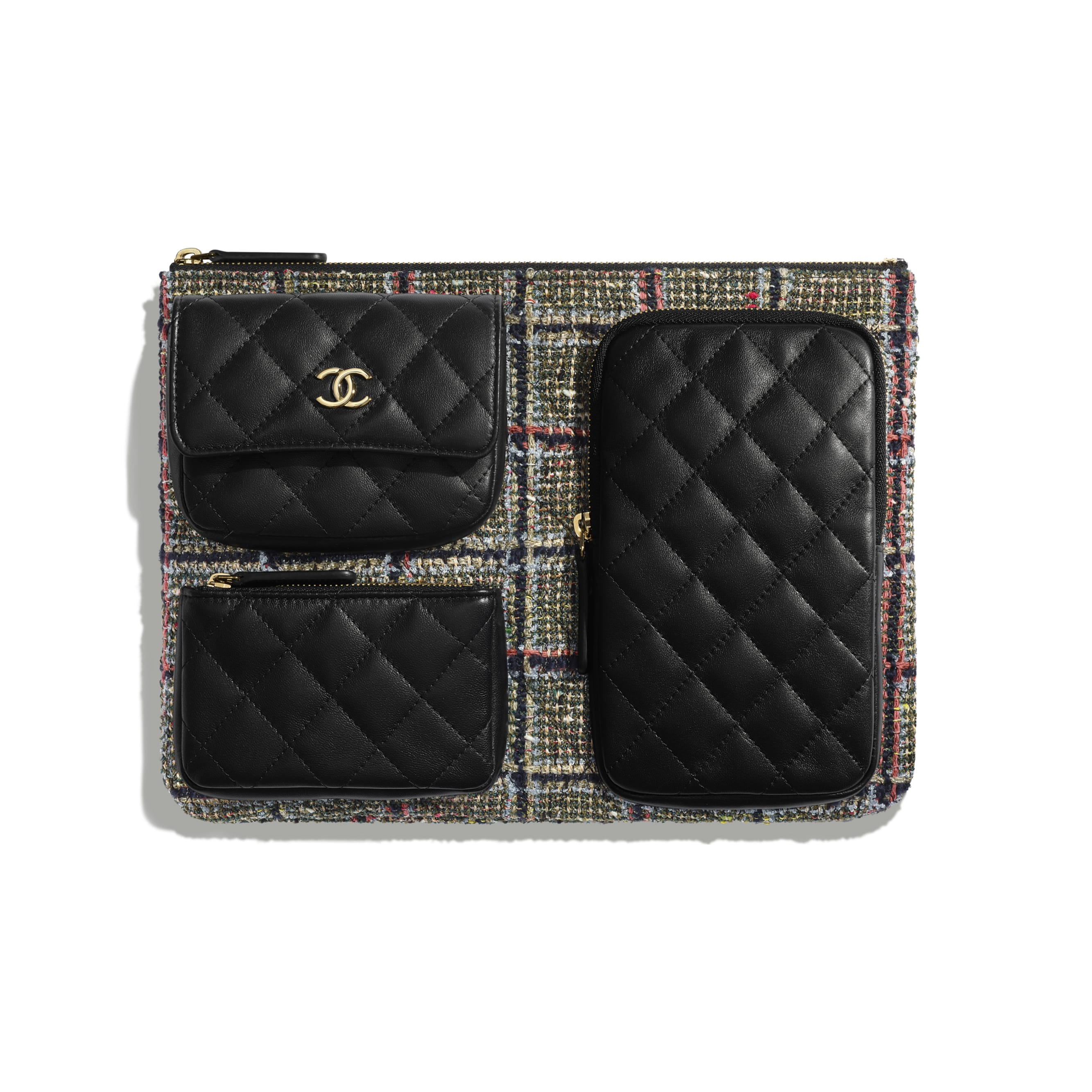 Pouch - Black, Khaki, Gray & Red - Tweed, Lambskin & Gold-Tone Metal - CHANEL - Default view - see standard sized version