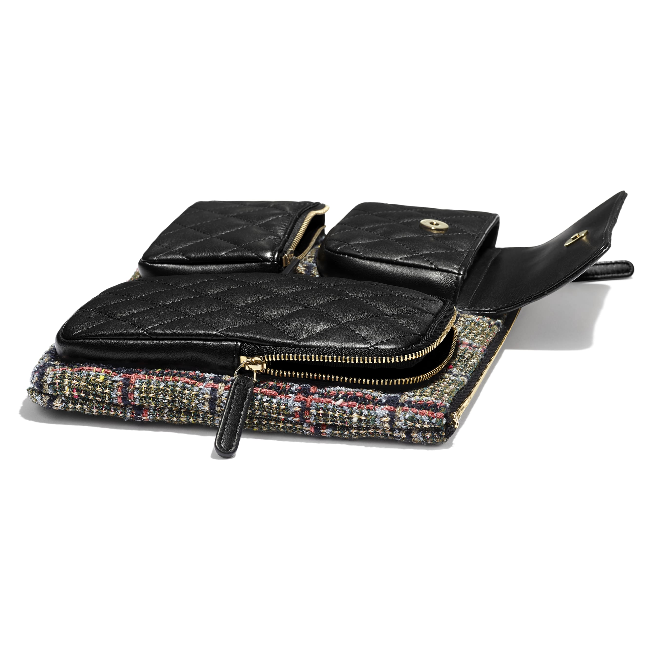 Pouch -  Black, Khaki, Grey & Red - Tweed, Lambskin & Gold Metal - Extra view - see standard sized version