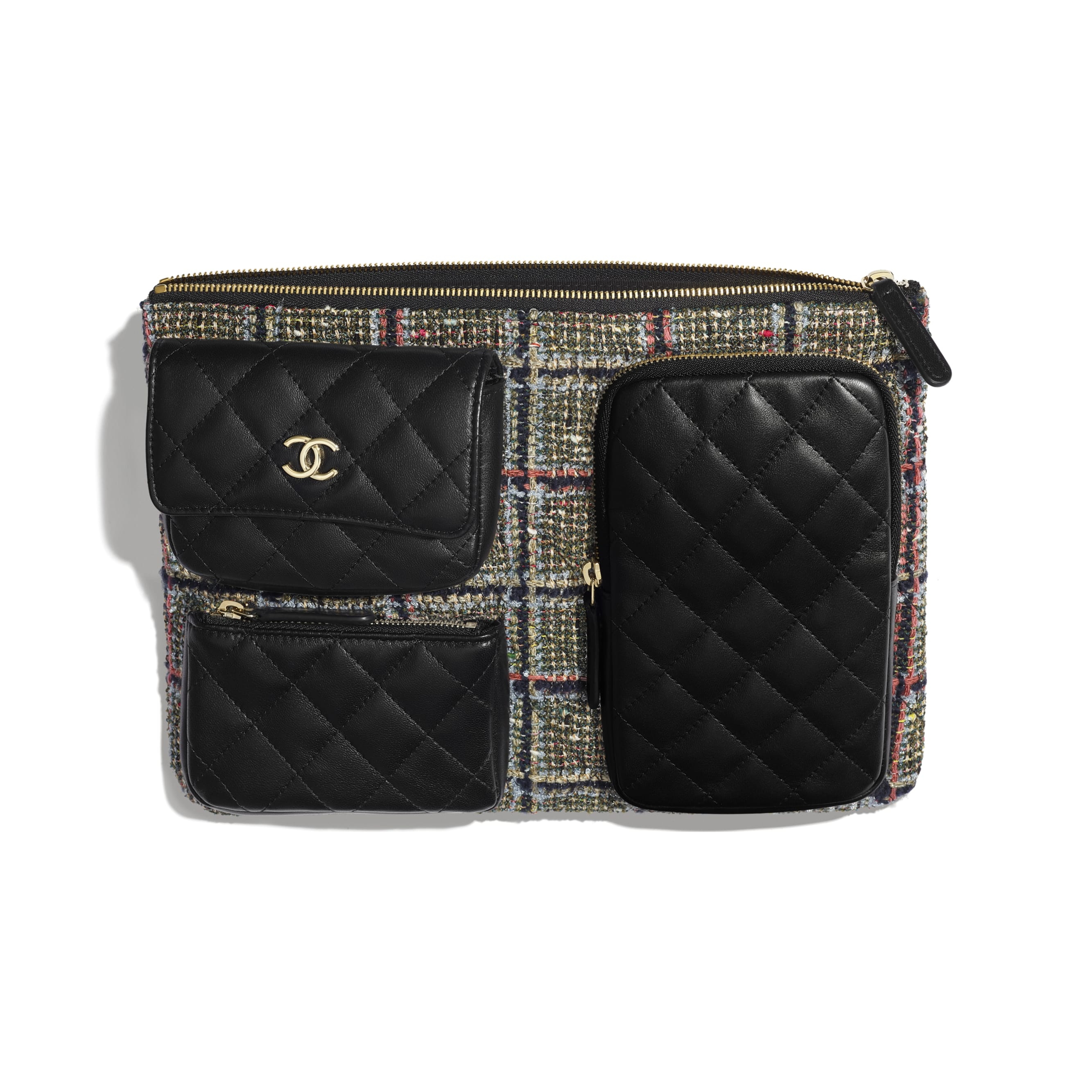 Pouch - Black, Khaki, Gray & Red - Tweed, Lambskin & Gold-Tone Metal - CHANEL - Other view - see standard sized version