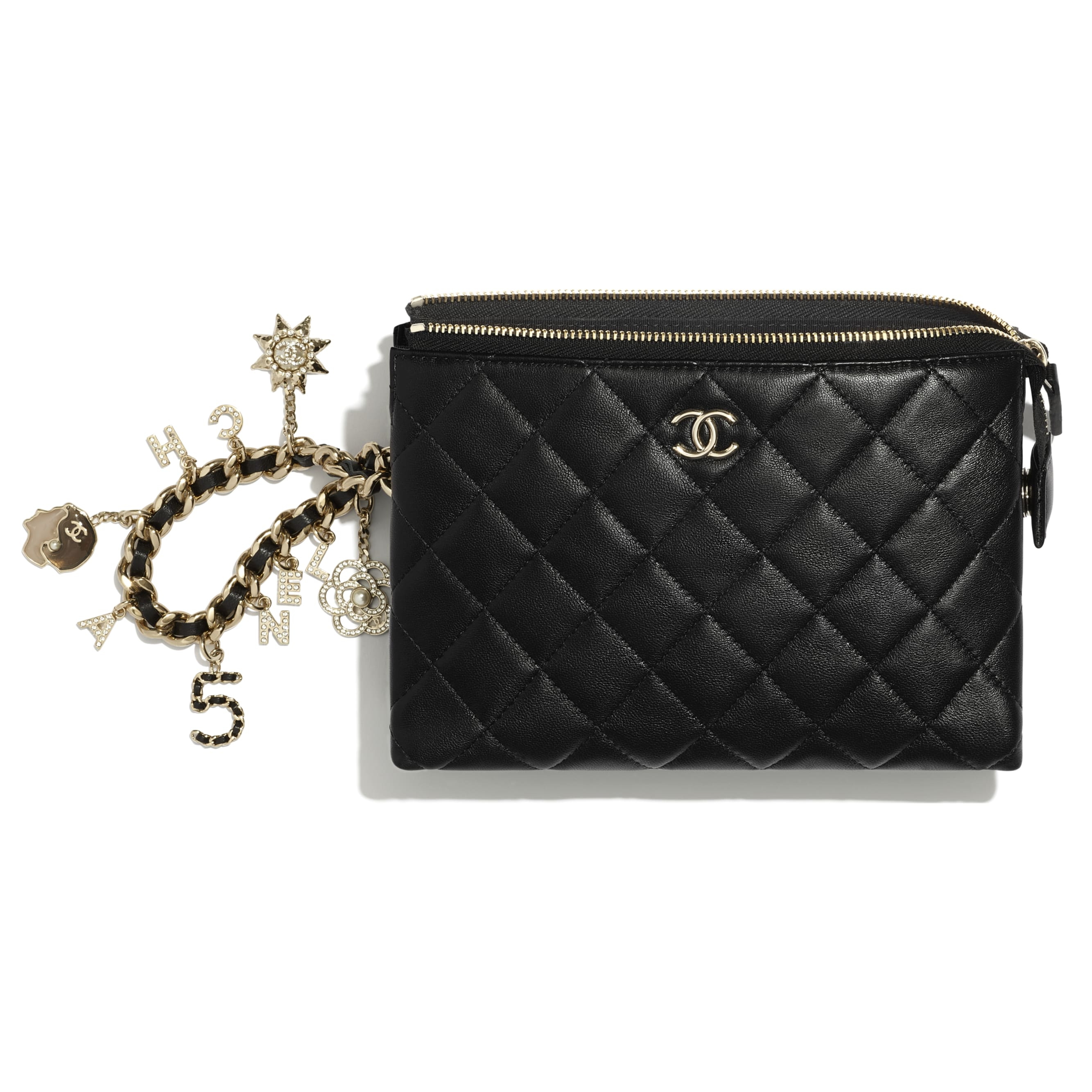 Pouch - Black - Lambskin, Charms & Gold-Tone Metal - CHANEL - Alternative view - see standard sized version