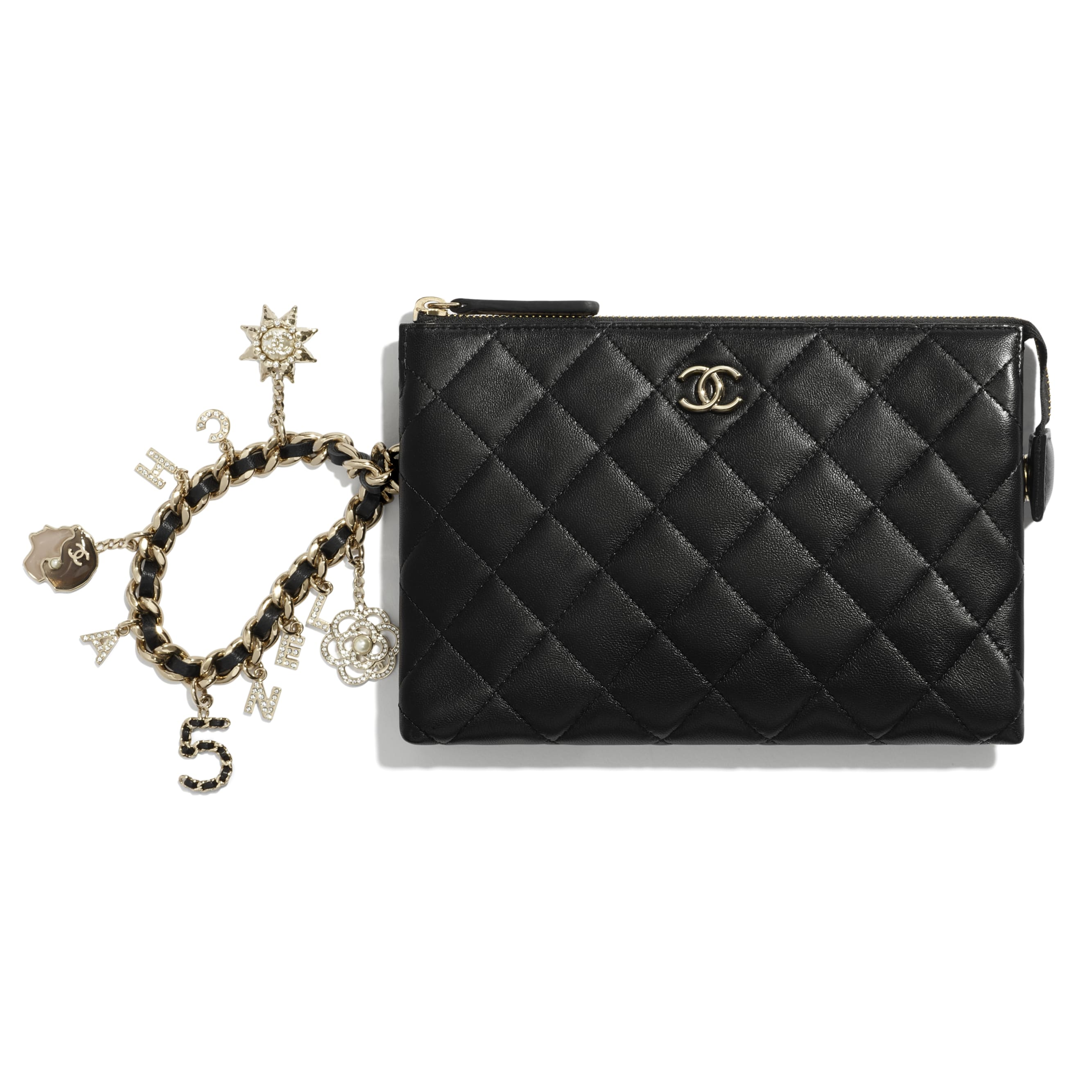 Pouch - Black - Lambskin, Charms & Gold-Tone Metal - CHANEL - Default view - see standard sized version