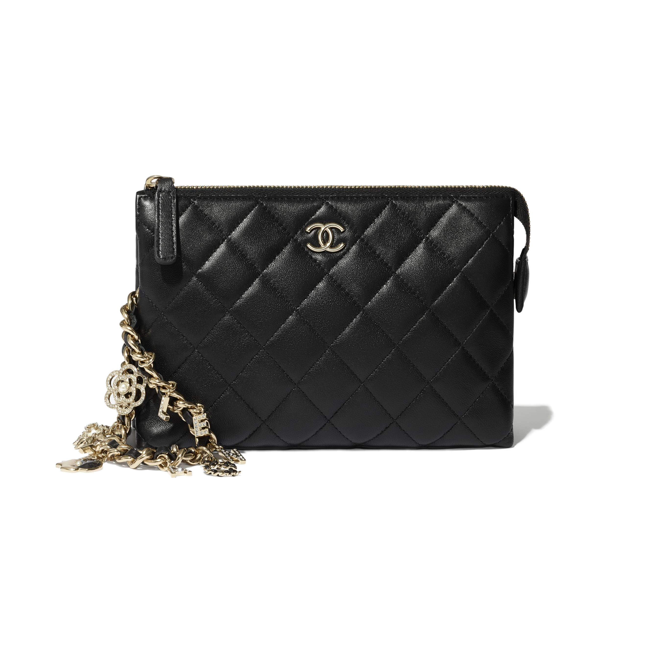 Pouch - Black - Lambskin, Charms & Gold-Tone Metal - CHANEL - Extra view - see standard sized version