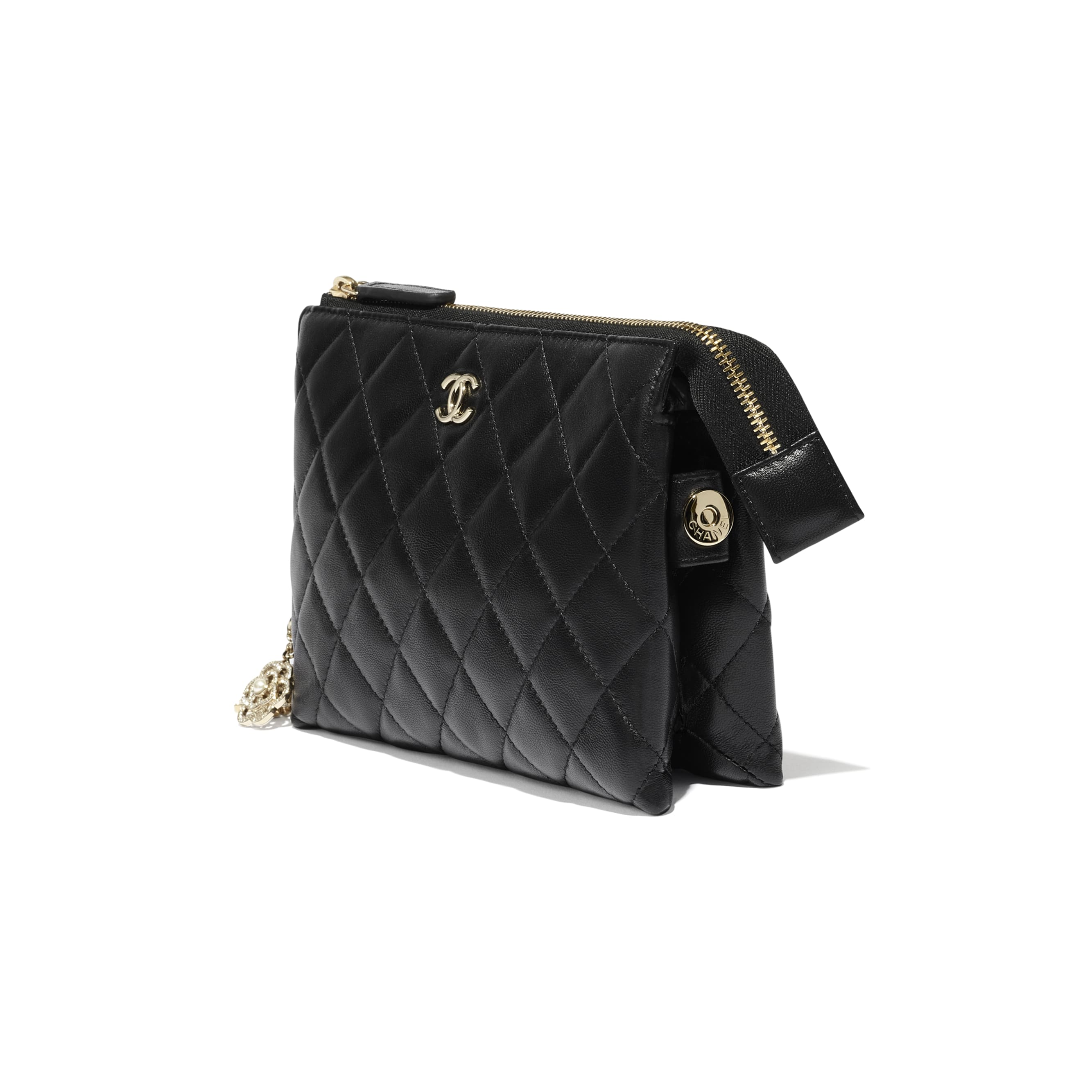 Pouch - Black - Lambskin, Charms & Gold-Tone Metal - CHANEL - Other view - see standard sized version