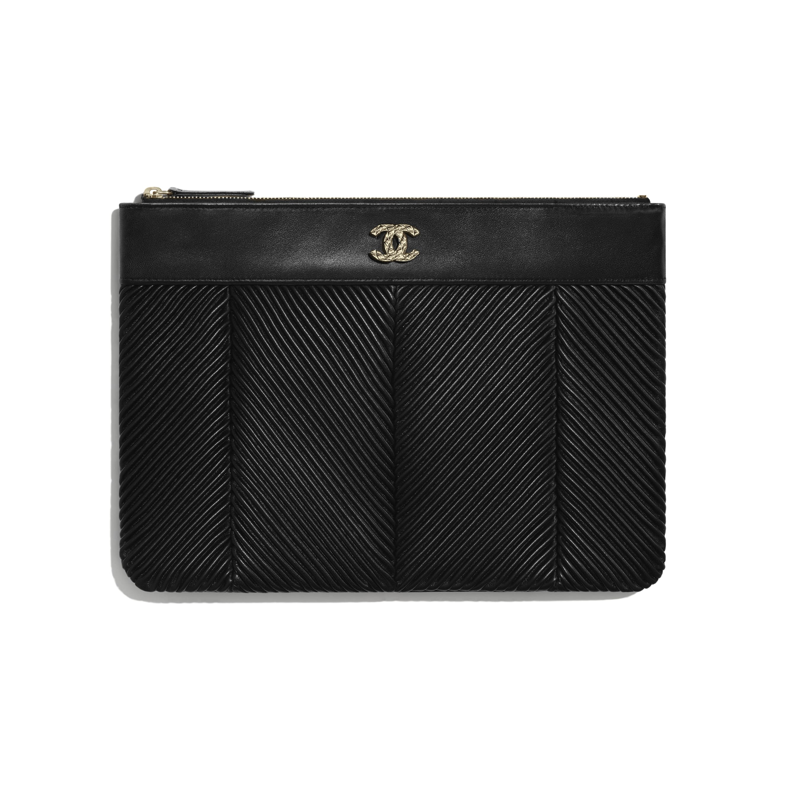 Pouch - Black - Lambskin & Gold-Tone Metal - Default view - see standard sized version