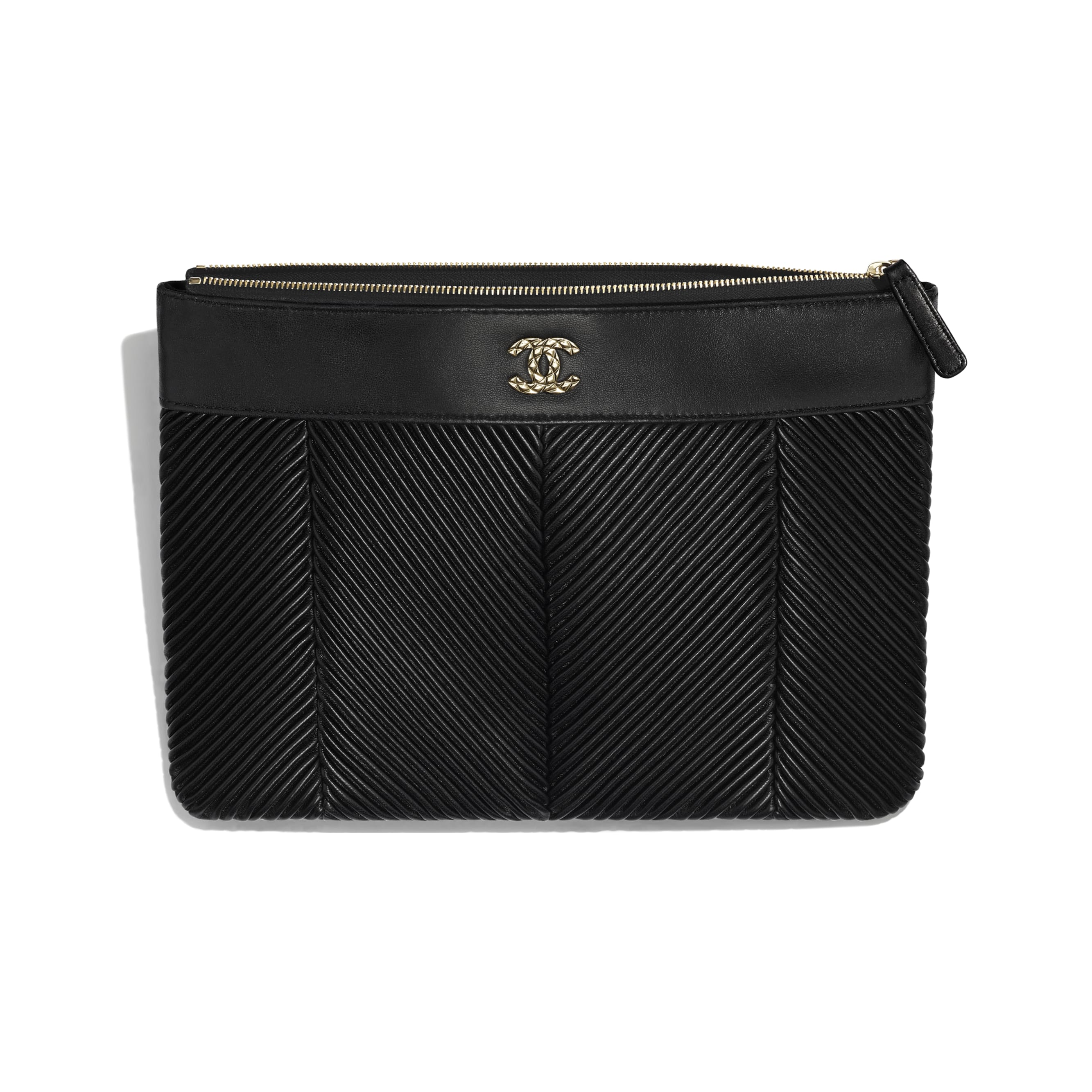 Pouch - Black - Lambskin & Gold-Tone Metal - Other view - see standard sized version