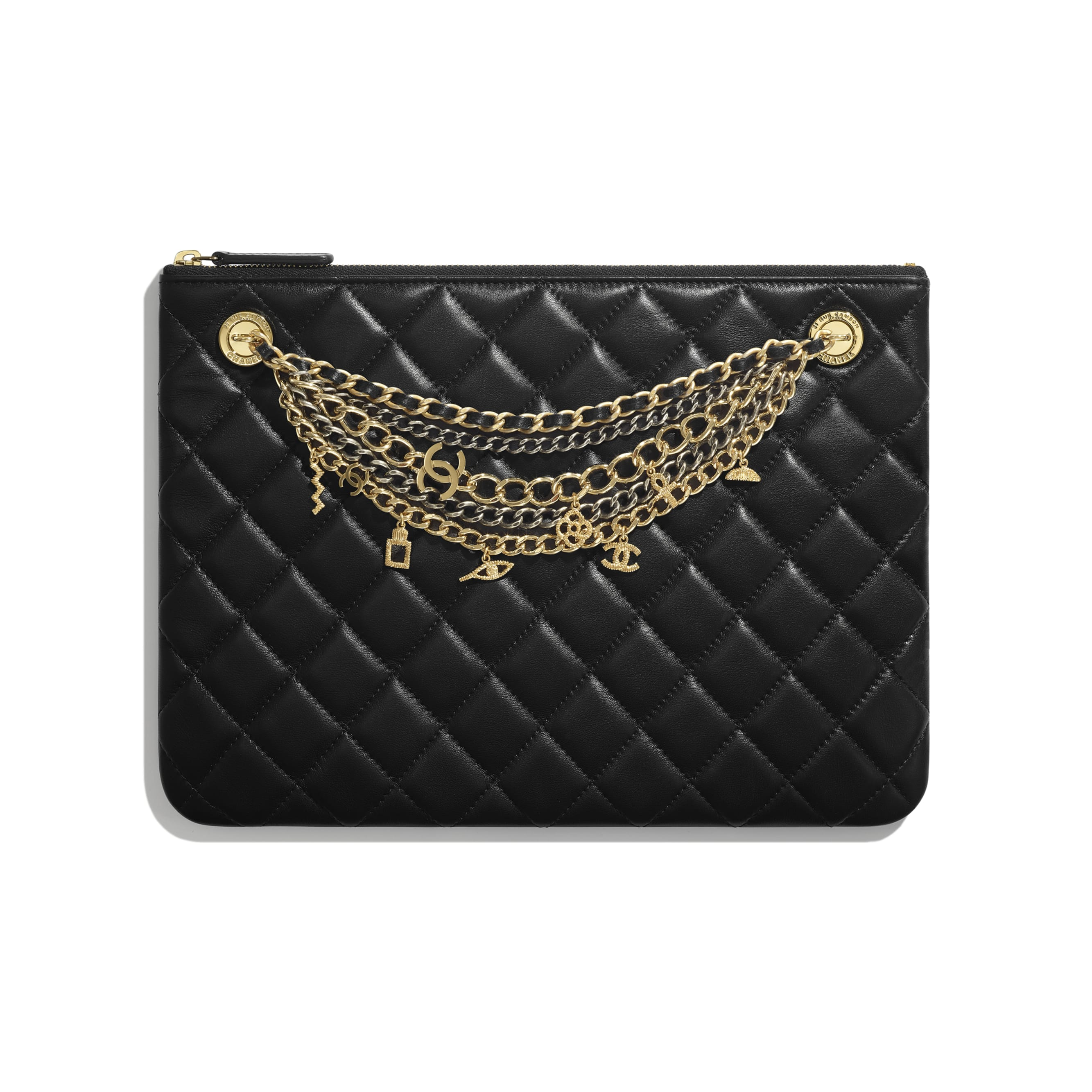 Pouch - Black - Lambskin, Gold-Tone & Silver-Tone Metal - Default view - see standard sized version