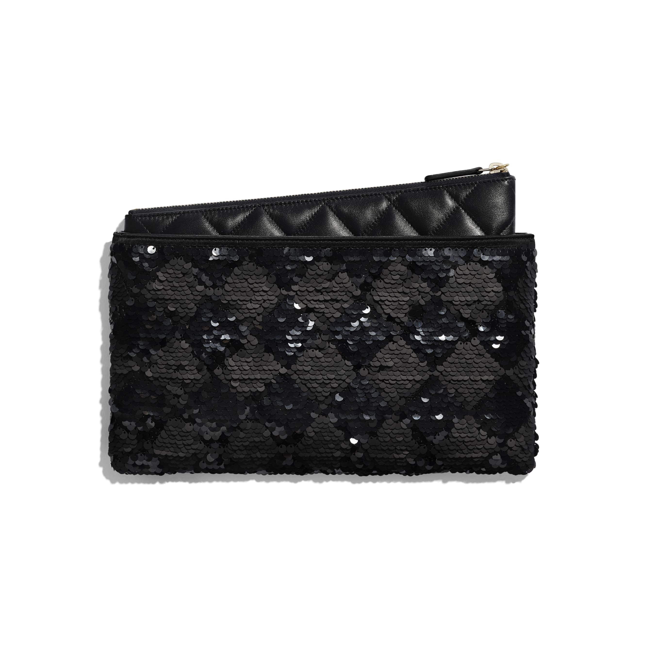 Pouch - Black - Sequins, Lambskin & Gold-Tone Metal - Alternative view - see standard sized version