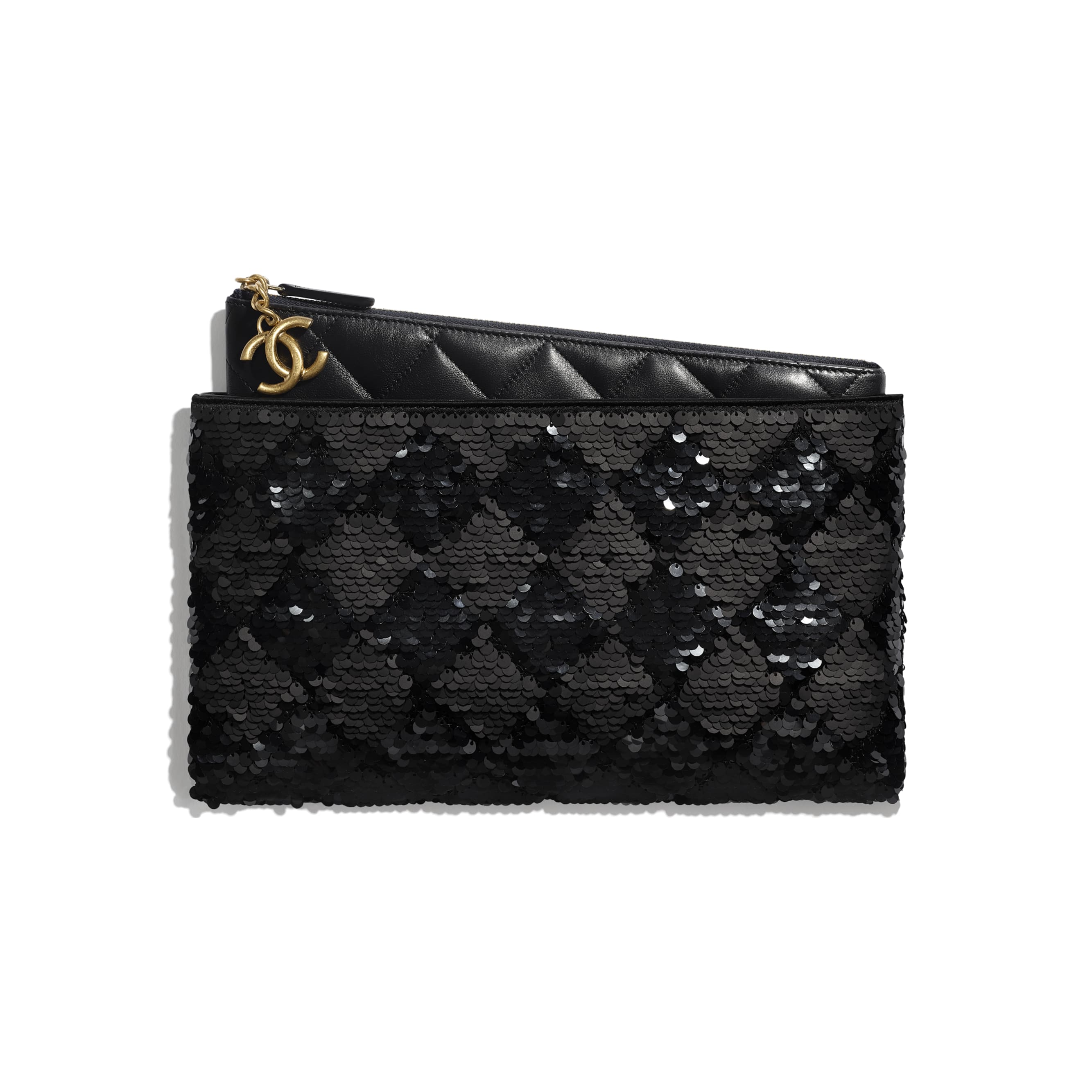 Pouch - Black - Sequins, Lambskin & Gold-Tone Metal - Default view - see standard sized version