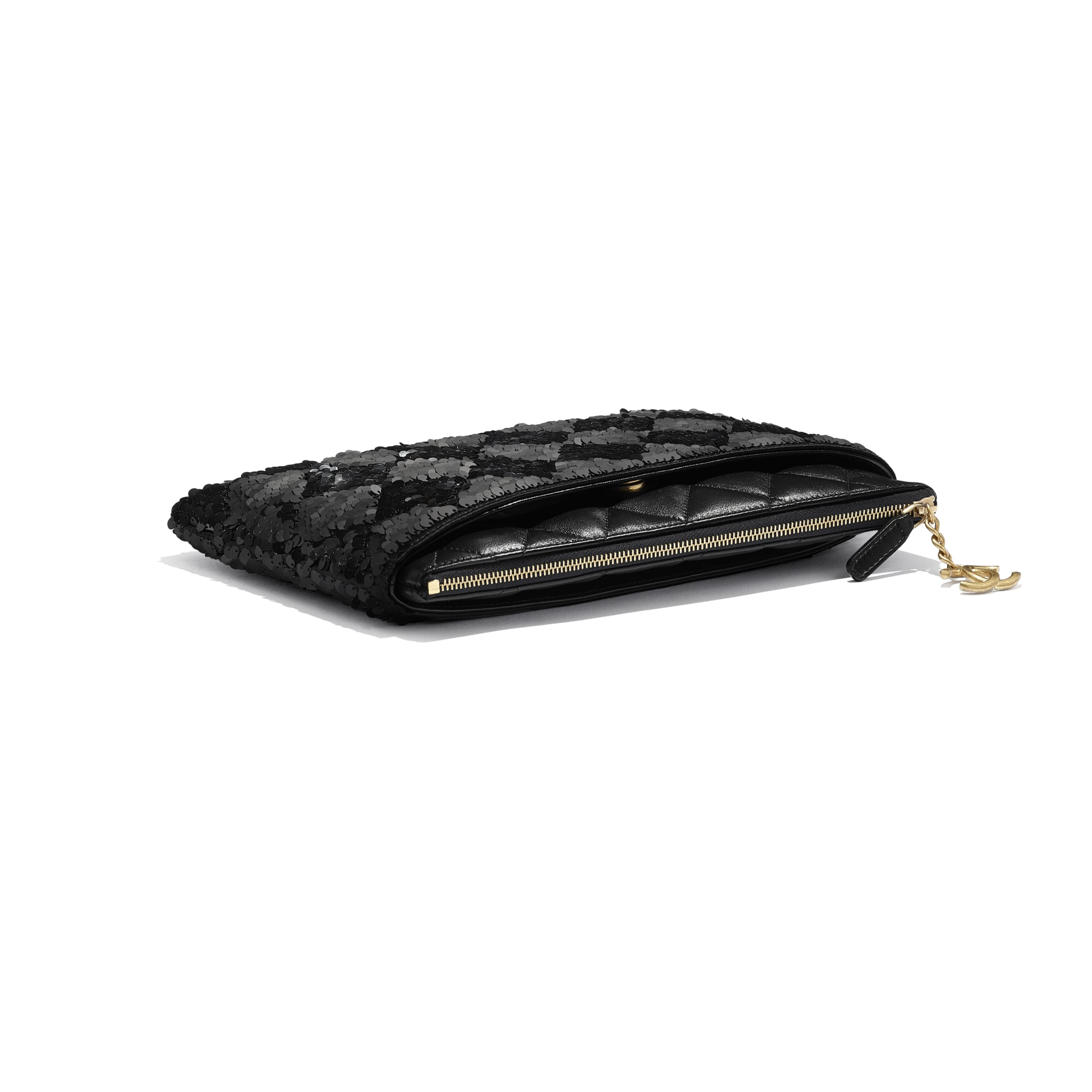 Pouch - Black - Sequins, Lambskin & Gold-Tone Metal - Extra view - see standard sized version