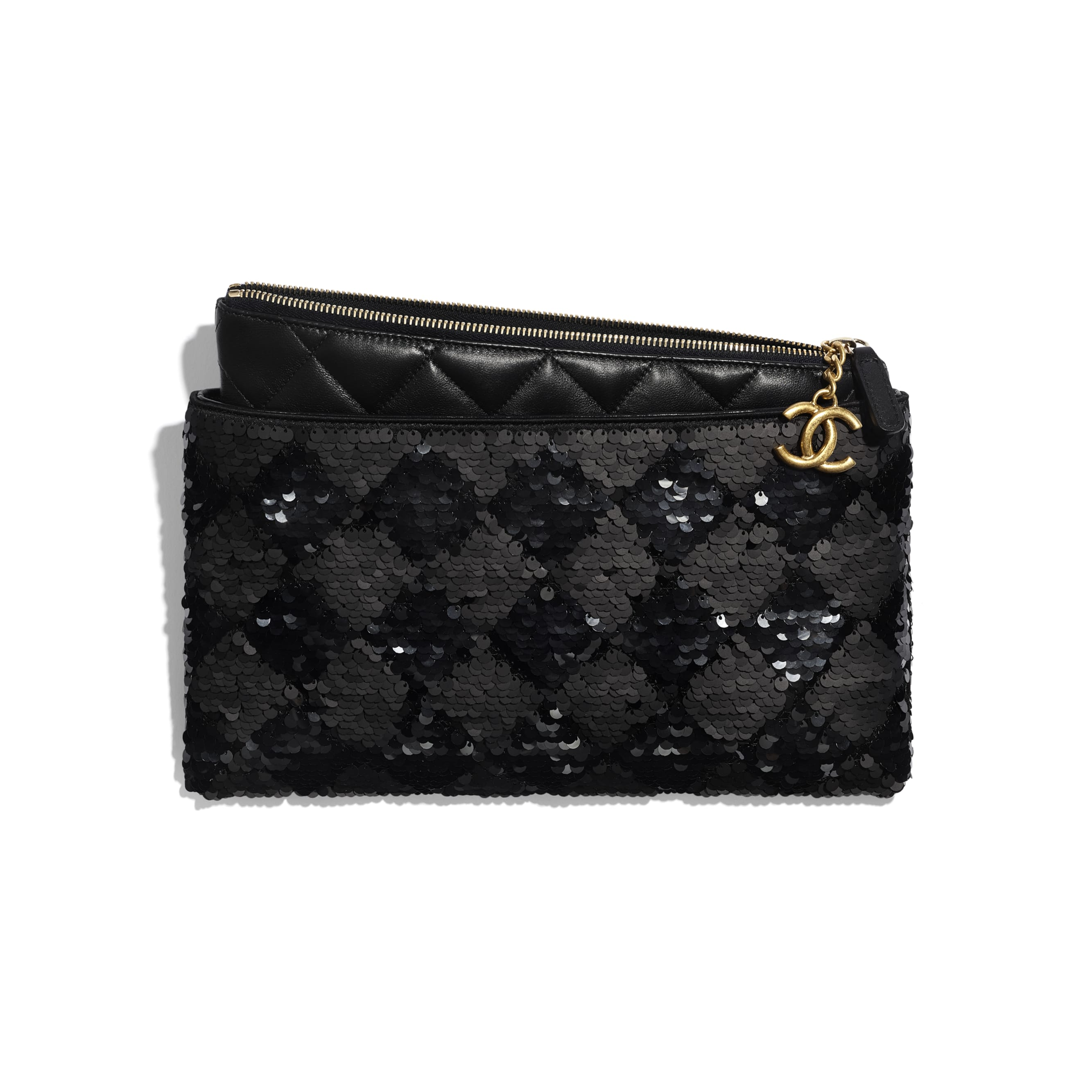 Pouch - Black - Sequins, Lambskin & Gold-Tone Metal - Other view - see standard sized version