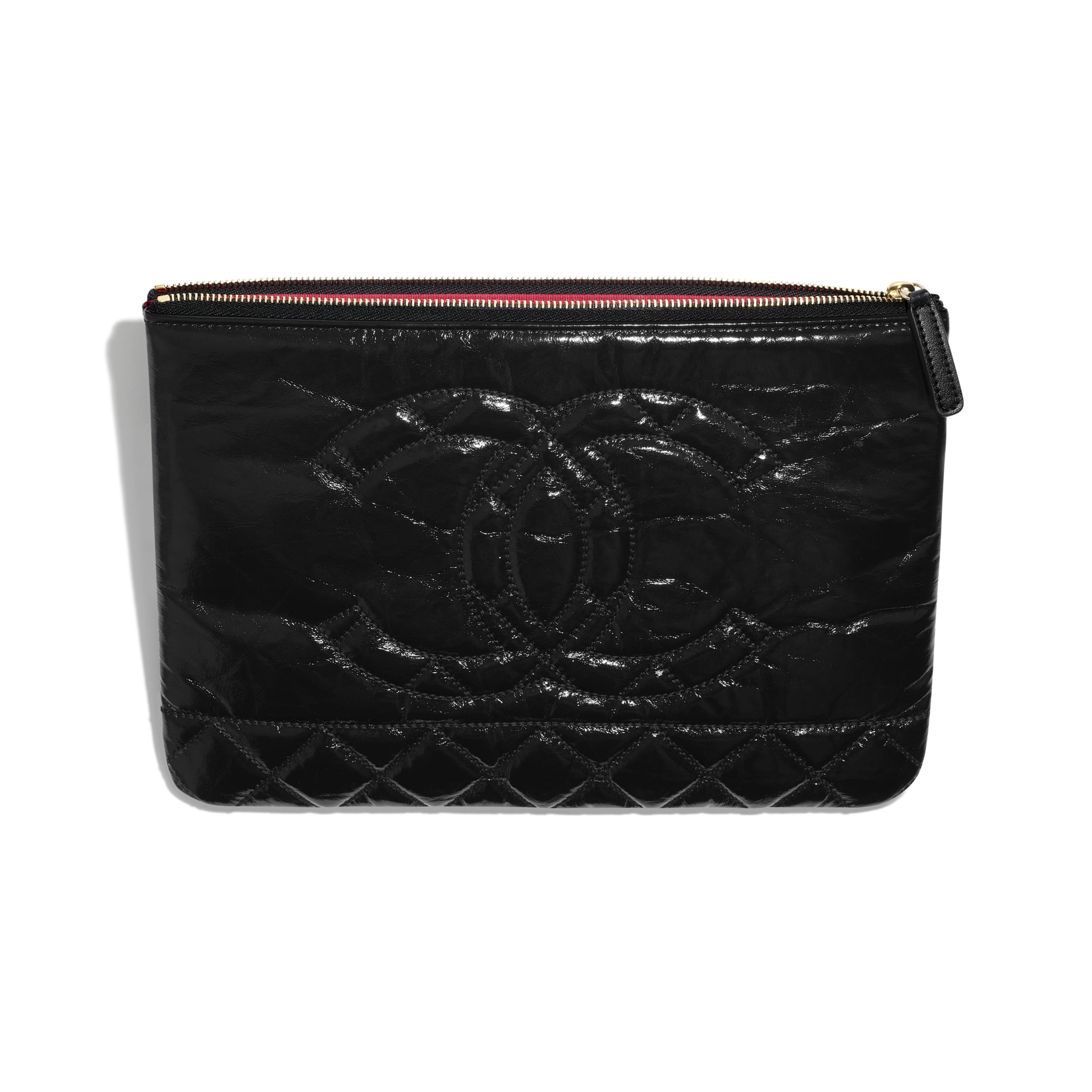 Pouch - Black - Shiny Aged Calfskin, Gold-Tone & Silver-Tone Metal - CHANEL - Other view - see standard sized version