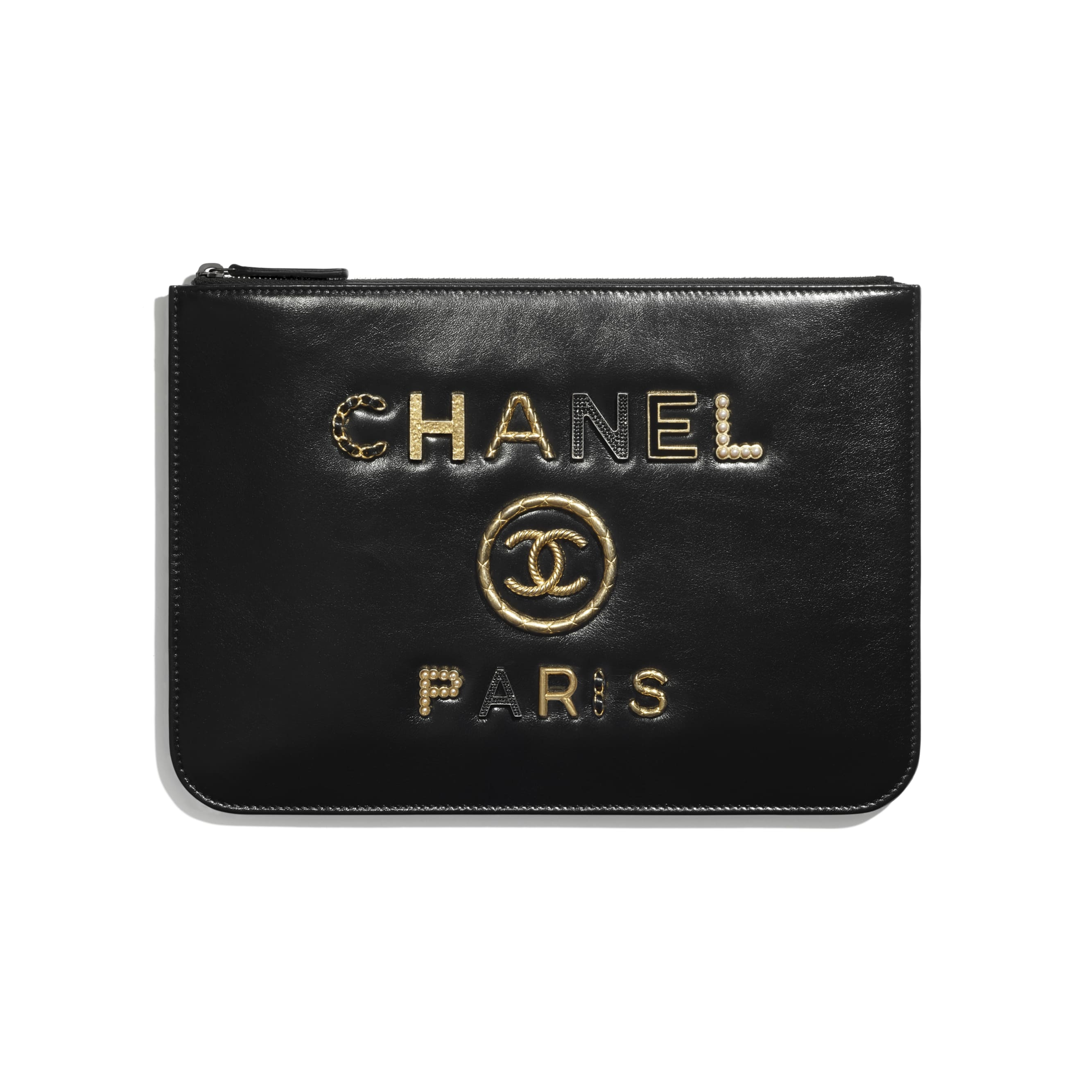 Pouch - Black - Shiny Calfskin, Crystal Pearls, Diamante, Enamel, Gold-Tone & Ruthenium-Finish Metal - CHANEL - Default view - see standard sized version