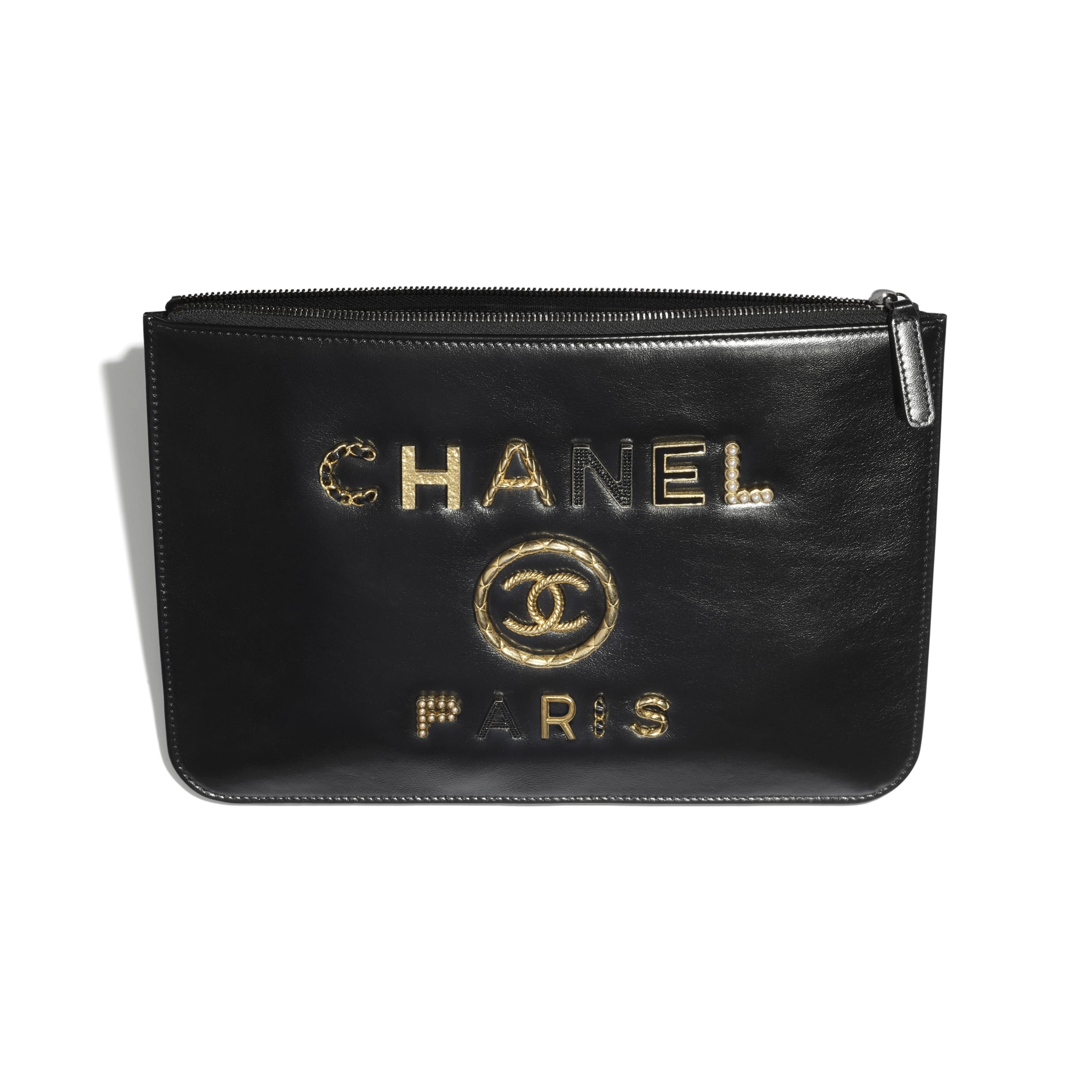 Pouch - Black - Shiny Calfskin, Crystal Pearls, Diamante, Enamel, Gold-Tone & Ruthenium-Finish Metal - CHANEL - Other view - see standard sized version
