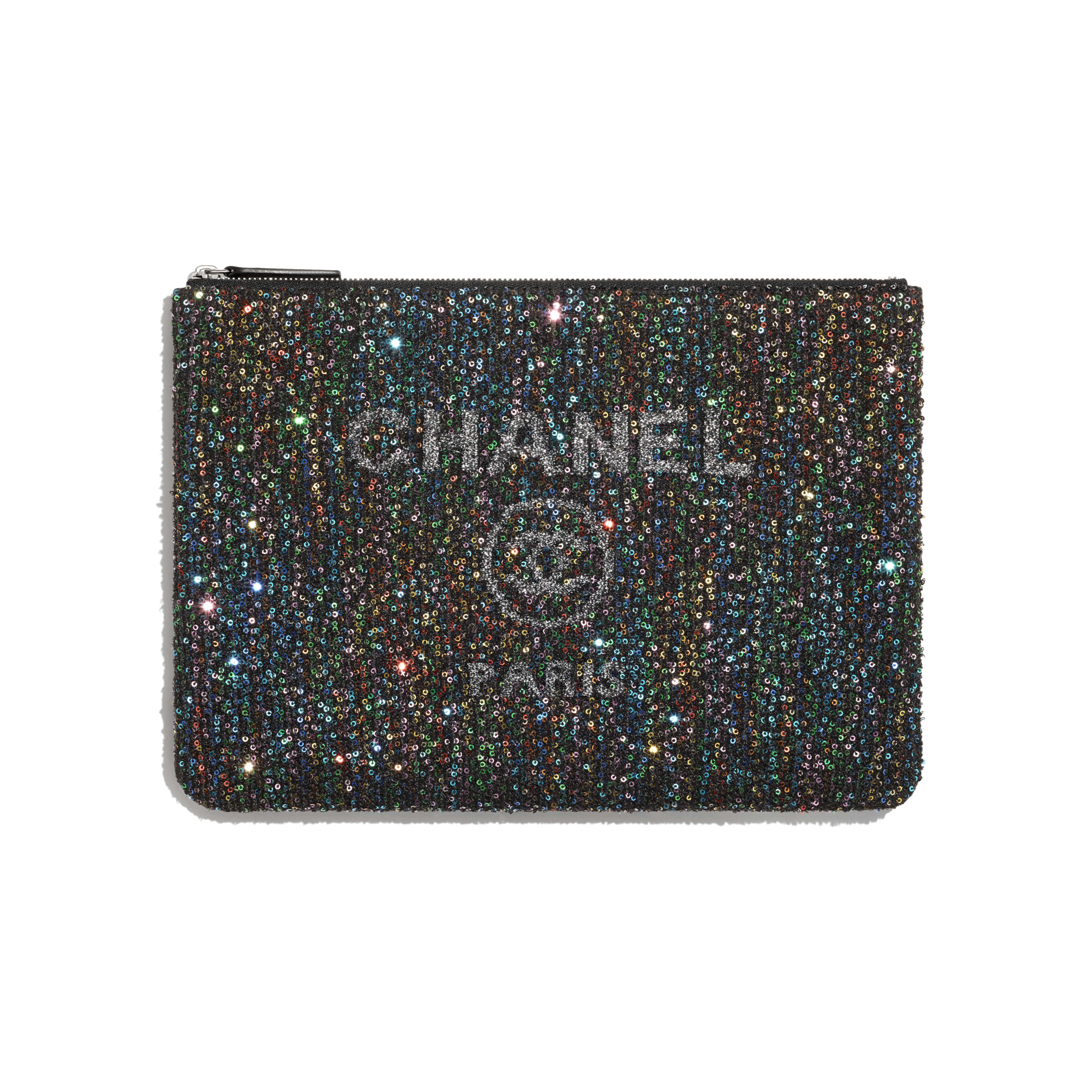 Pouch - Black - Viscose, Calfskin, Sequins & Silver-Tone Metal - CHANEL - Default view - see standard sized version