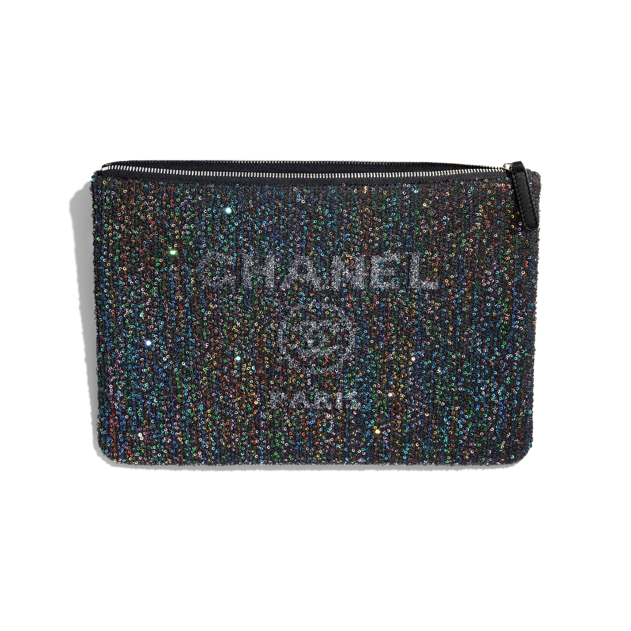 Pouch - Black - Viscose, Calfskin, Sequins & Silver-Tone Metal - CHANEL - Other view - see standard sized version