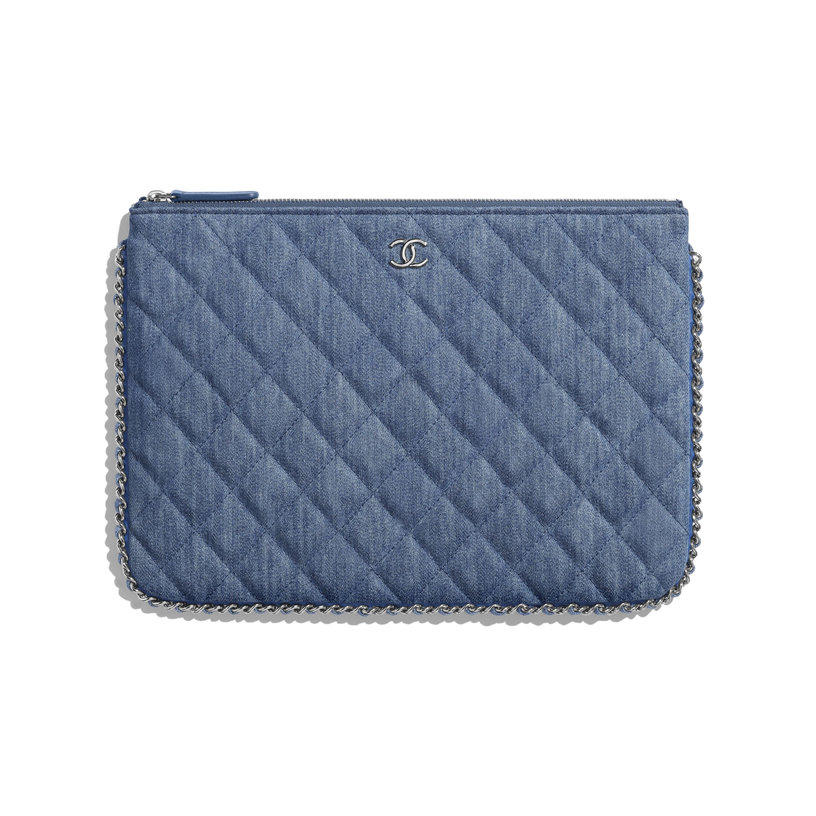 Pouch - Blue - Denim, Chain & Silver-Tone Metal - Default view - see standard sized version