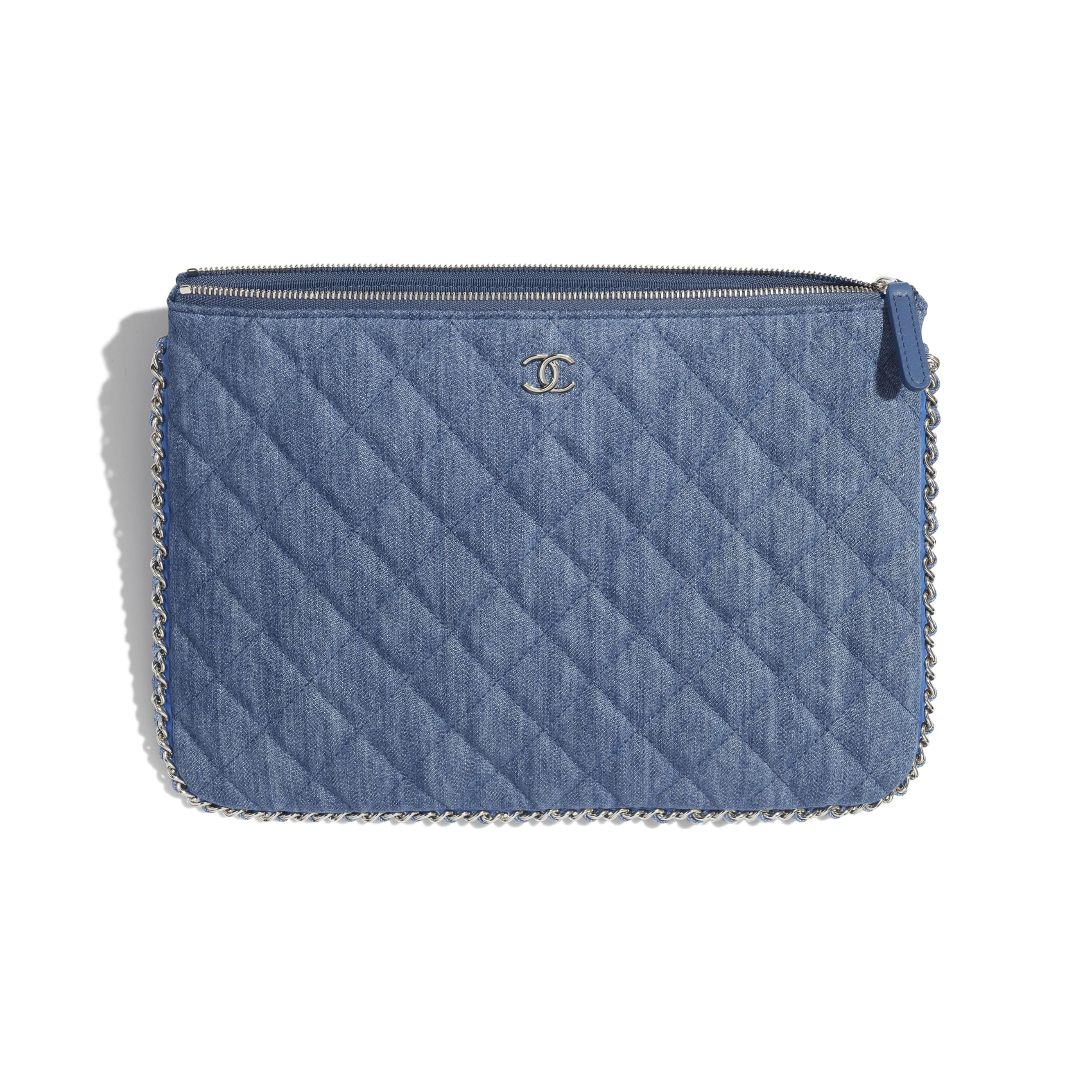 Pouch - Blue - Denim, Chain & Silver-Tone Metal - Other view - see standard sized version