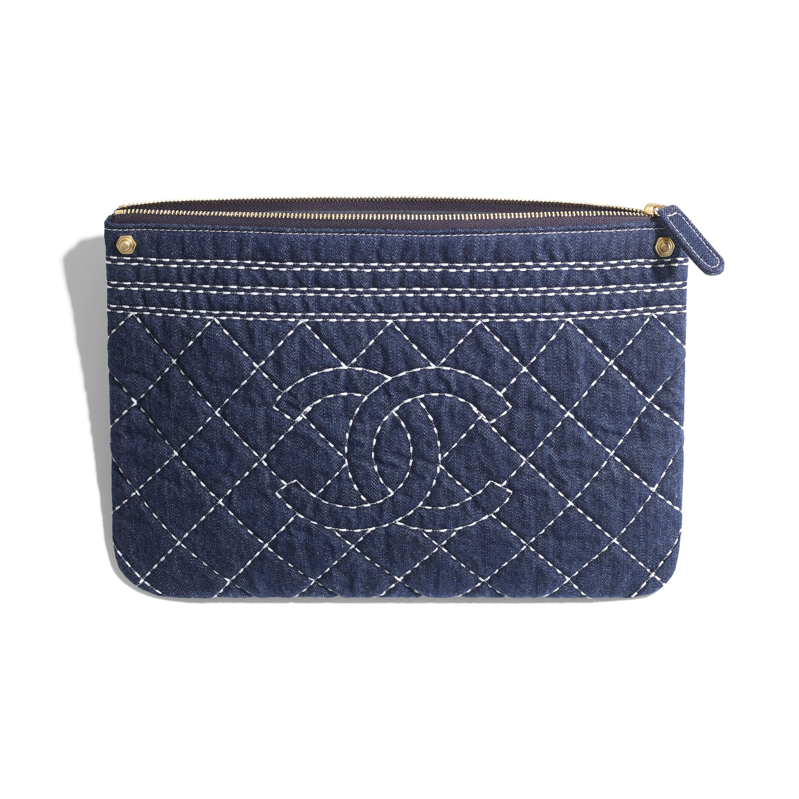 Pouch - Blue - Denim & Gold Metal - Other view - see standard sized version