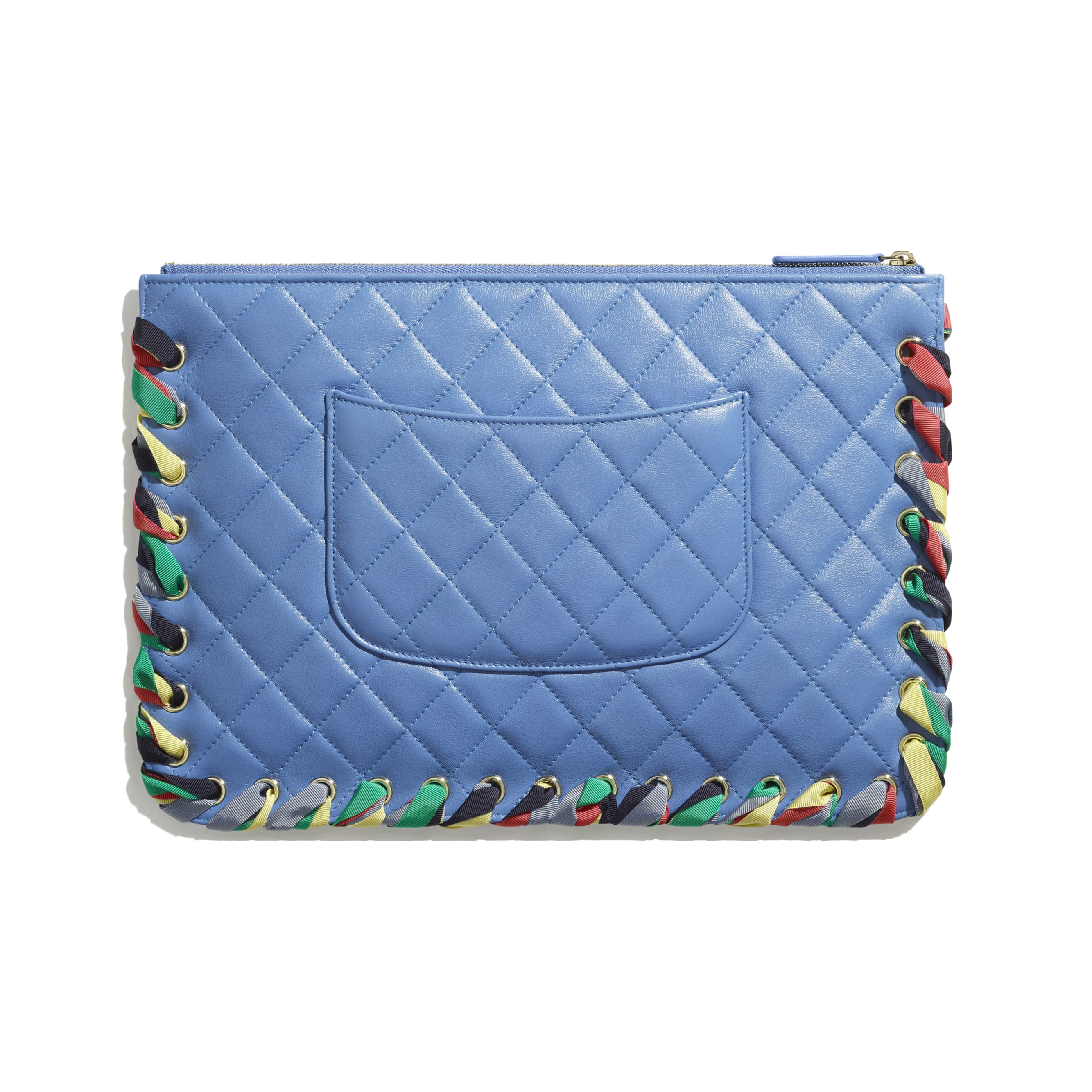 Pouch - Blue - Shiny Lambskin, Ribbon & Gold-Tone Metal - CHANEL - Alternative view - see standard sized version