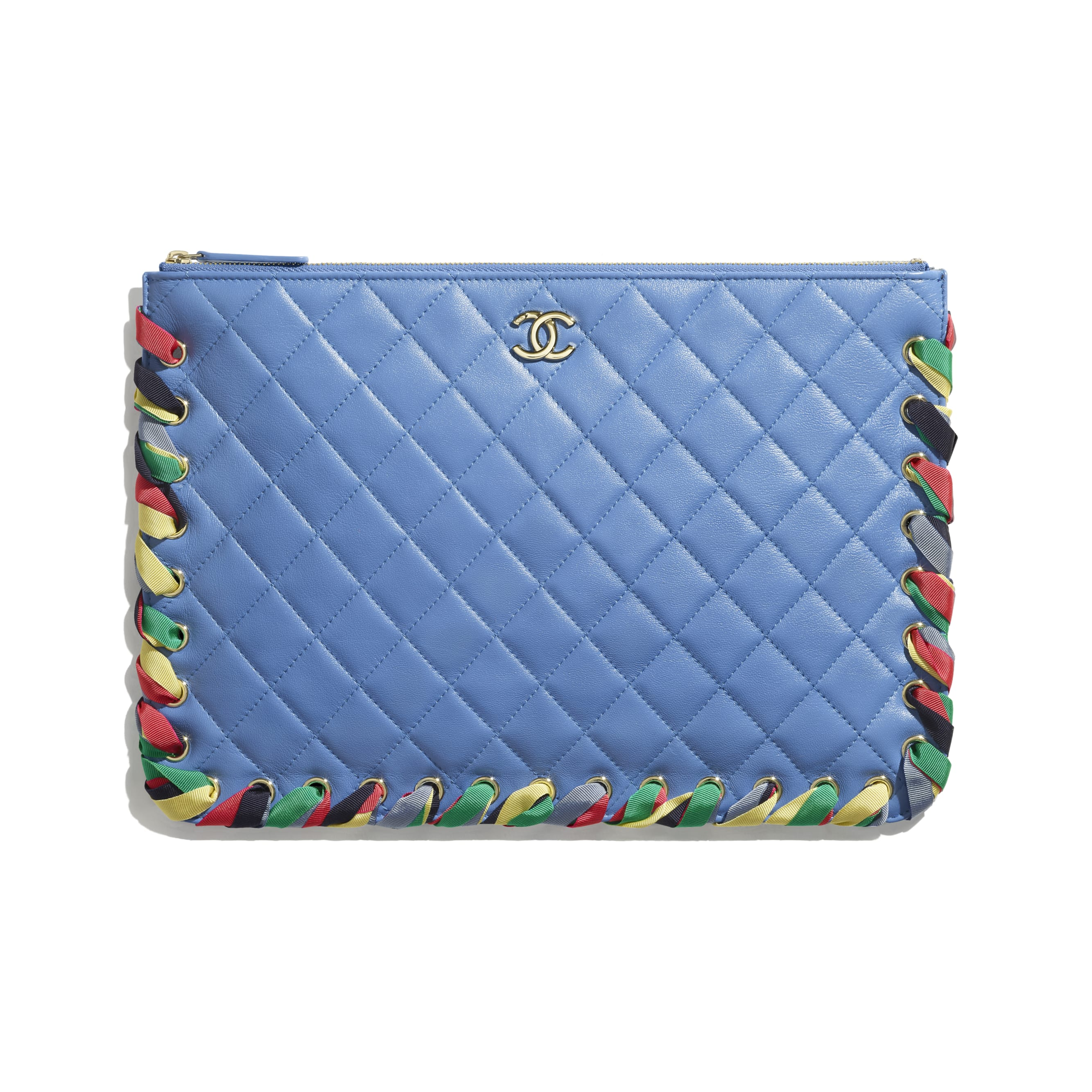Pouch - Blue - Shiny Lambskin, Ribbon & Gold-Tone Metal - CHANEL - Default view - see standard sized version