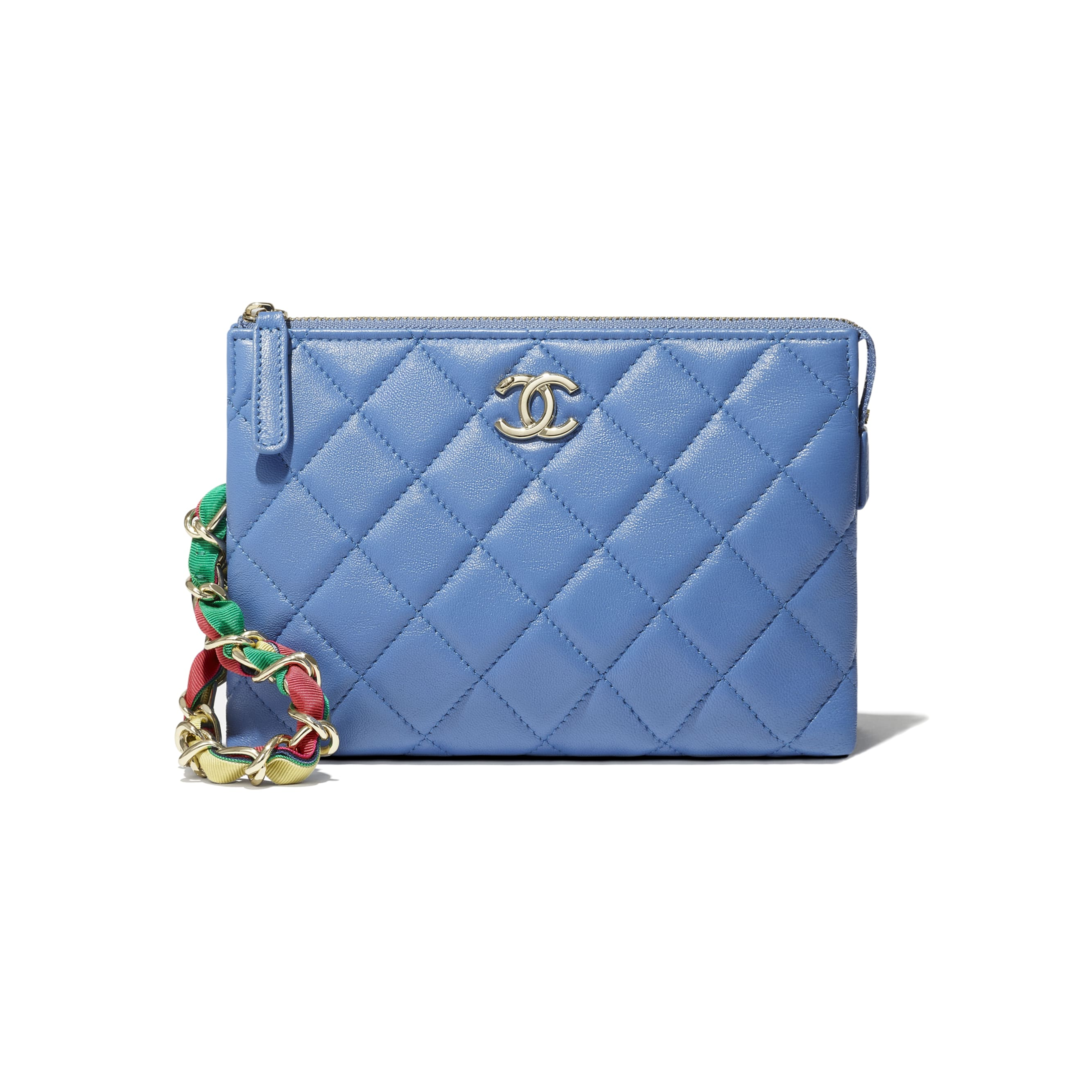 Pouch - Blue - Shiny Lambskin, Ribbon & Gold-Tone Metal - CHANEL - Extra view - see standard sized version