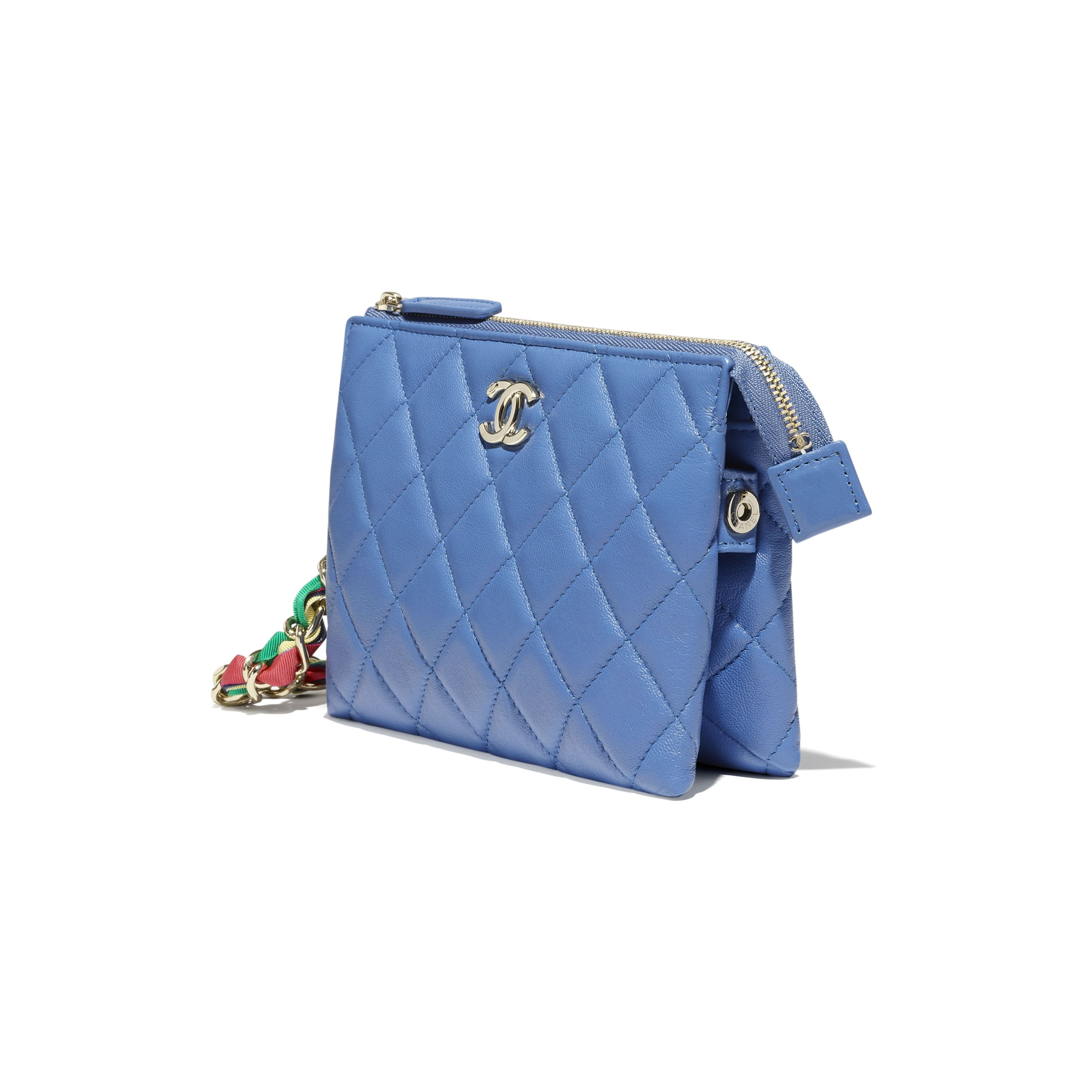 Pouch - Blue - Shiny Lambskin, Ribbon & Gold-Tone Metal - CHANEL - Other view - see standard sized version