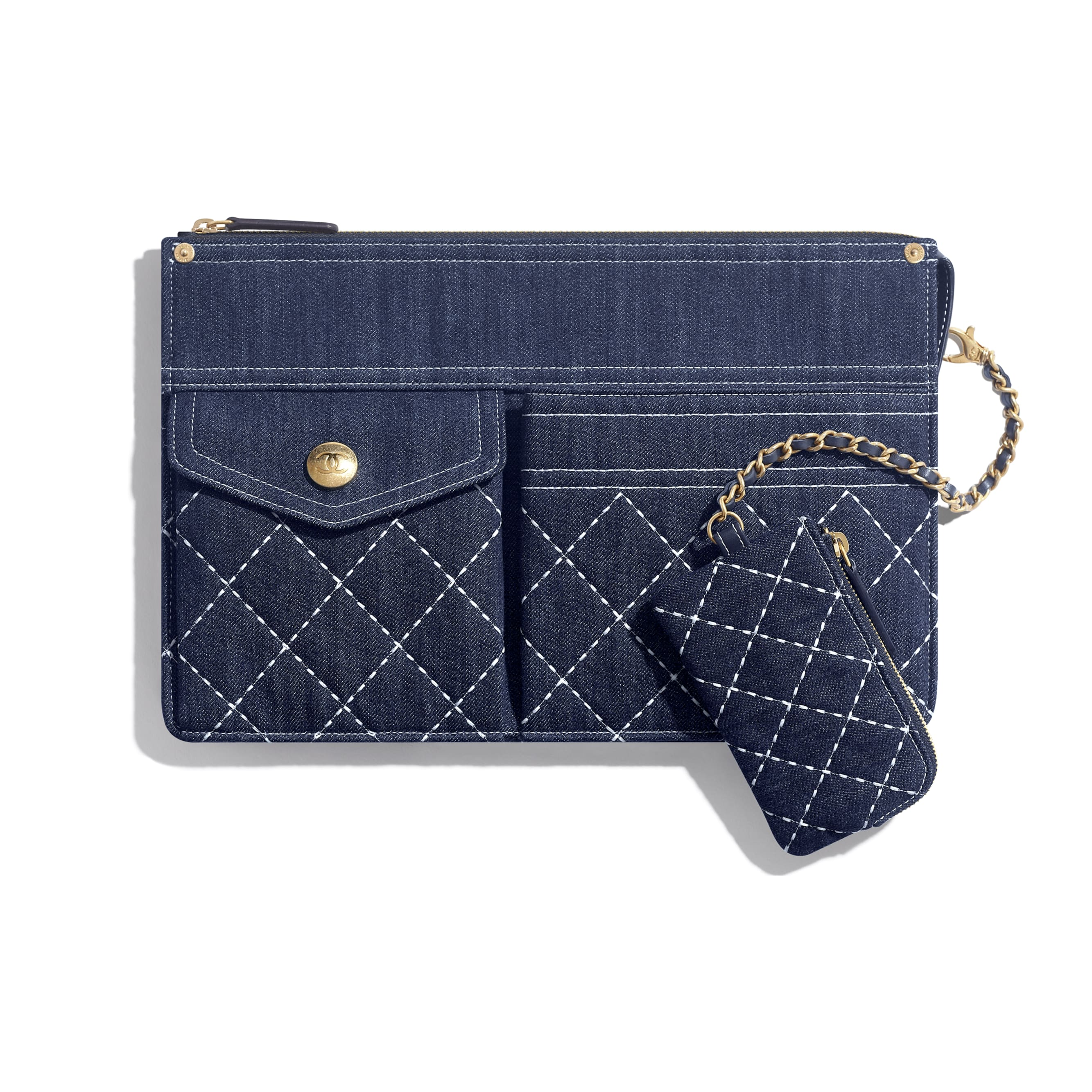 Pouch & Coin Purse - Blue - Denim & Gold Metal - Default view - see standard sized version