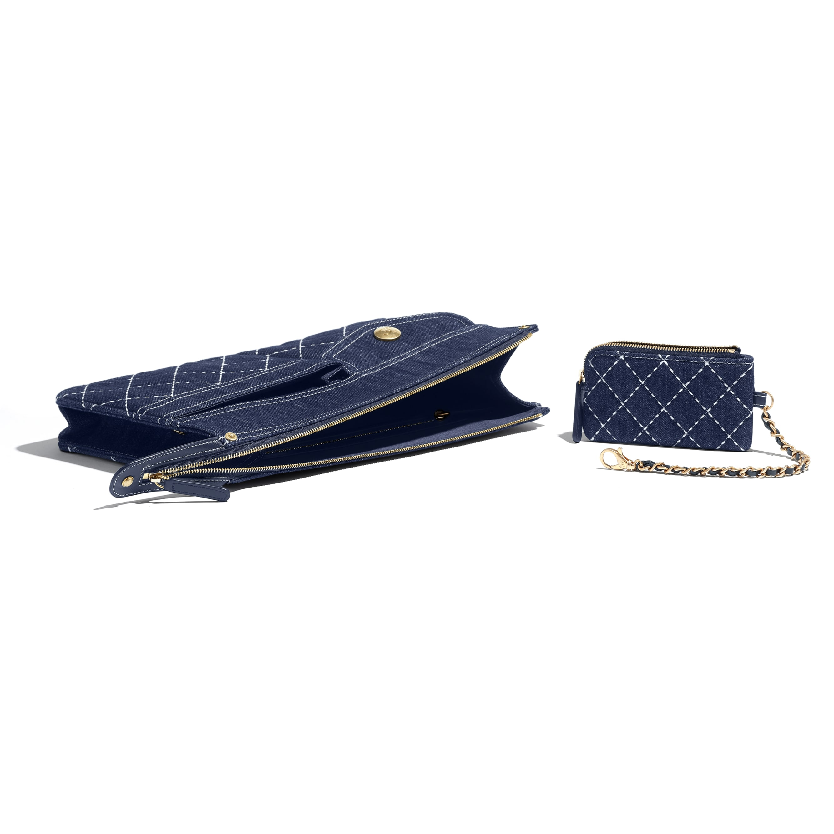 Pouch & Coin Purse - Blue - Denim & Gold Metal - Extra view - see standard sized version