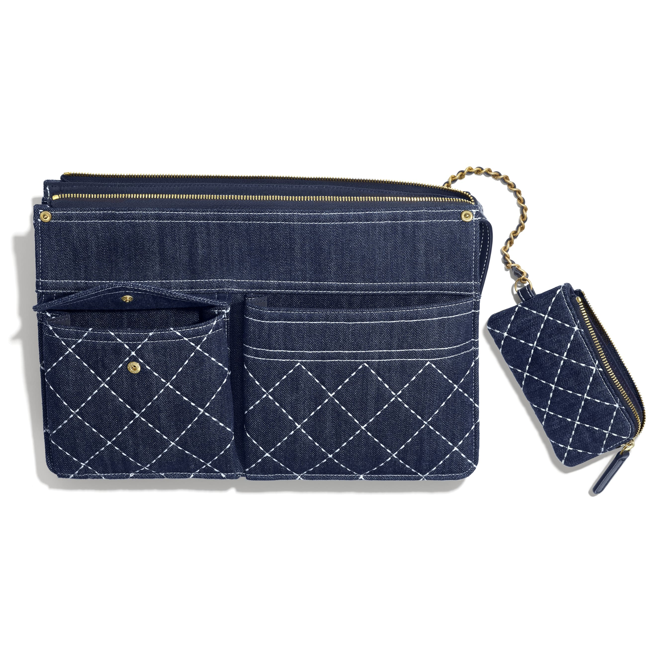 Pouch & Coin Purse - Blue - Denim & Gold Metal - Other view - see standard sized version