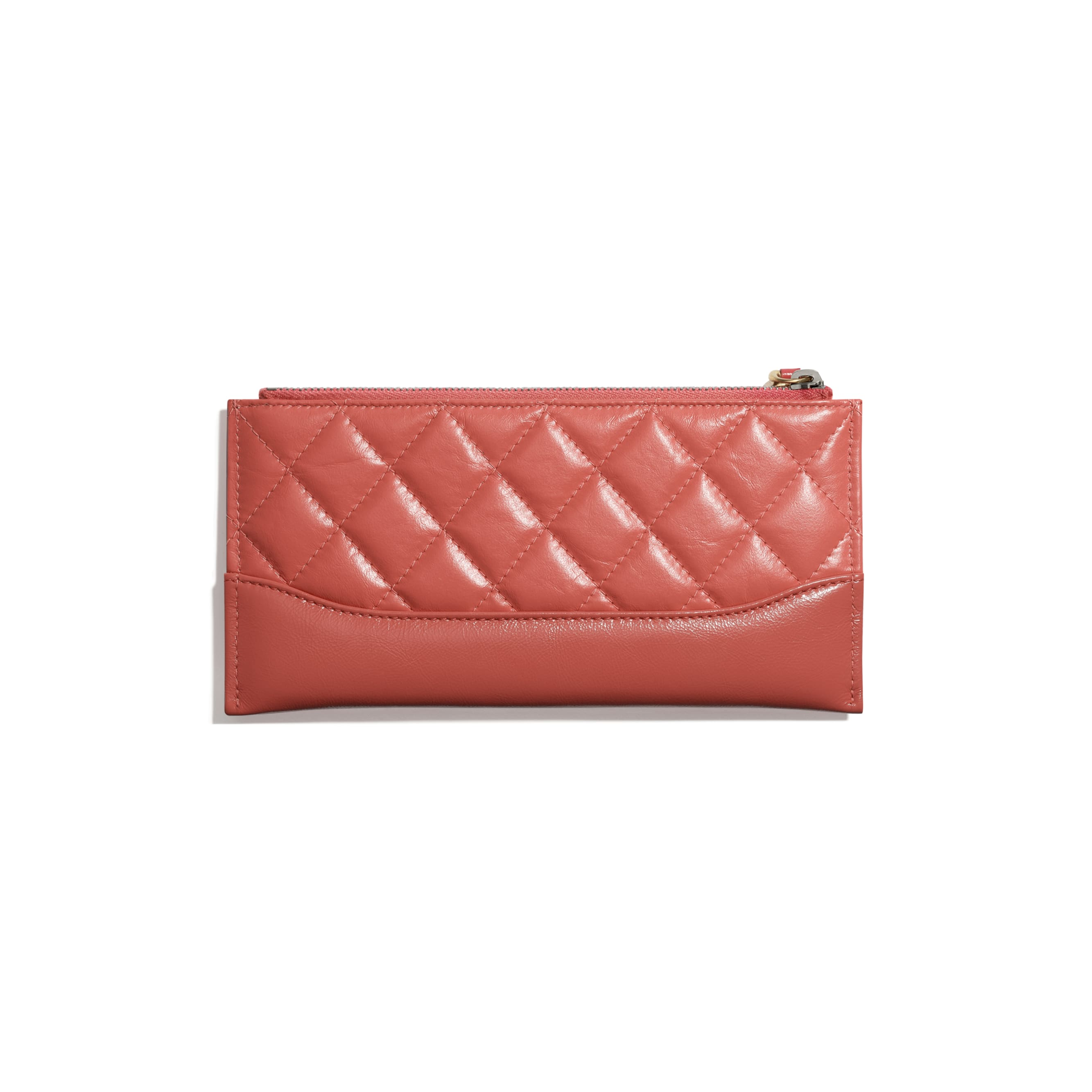 Pouch - Coral - Aged Calfskin, Smooth Calfskin, Gold-Tone, Silver-Tone & Ruthenium-Finish Metal - CHANEL - Alternative view - see standard sized version