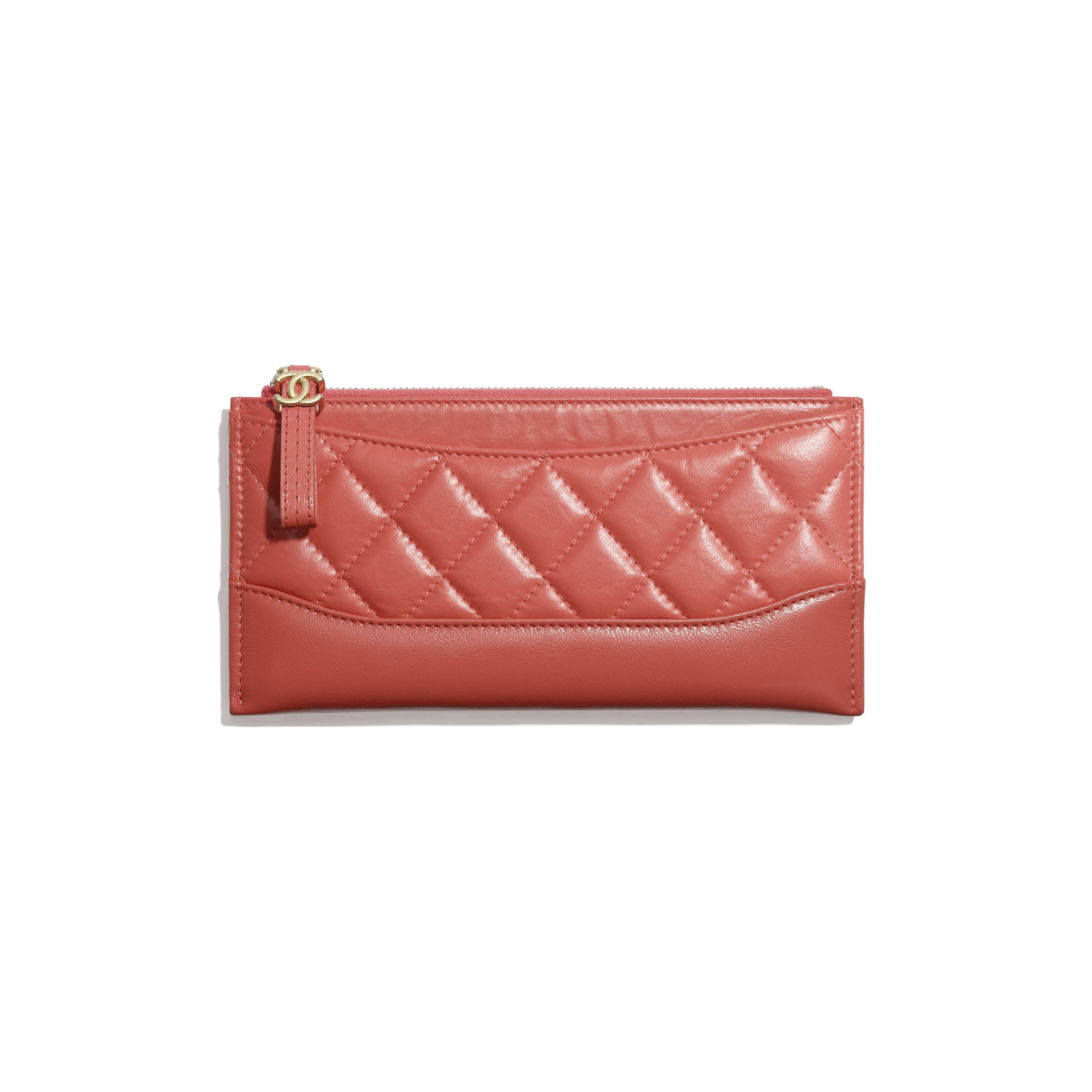 Pouch - Coral - Aged Calfskin, Smooth Calfskin, Gold-Tone, Silver-Tone & Ruthenium-Finish Metal - CHANEL - Default view - see standard sized version