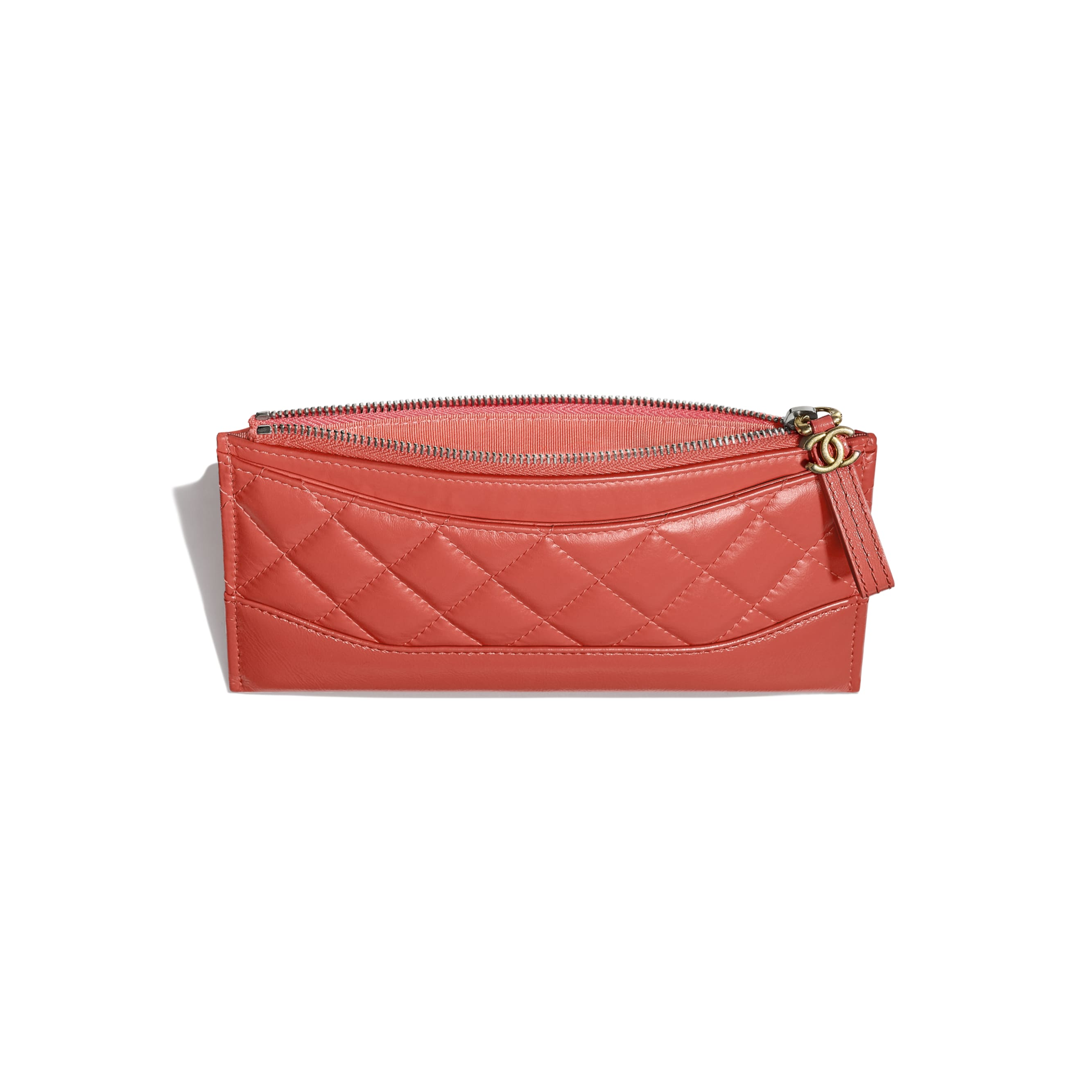 Pouch - Coral - Aged Calfskin, Smooth Calfskin, Gold-Tone, Silver-Tone & Ruthenium-Finish Metal - CHANEL - Other view - see standard sized version