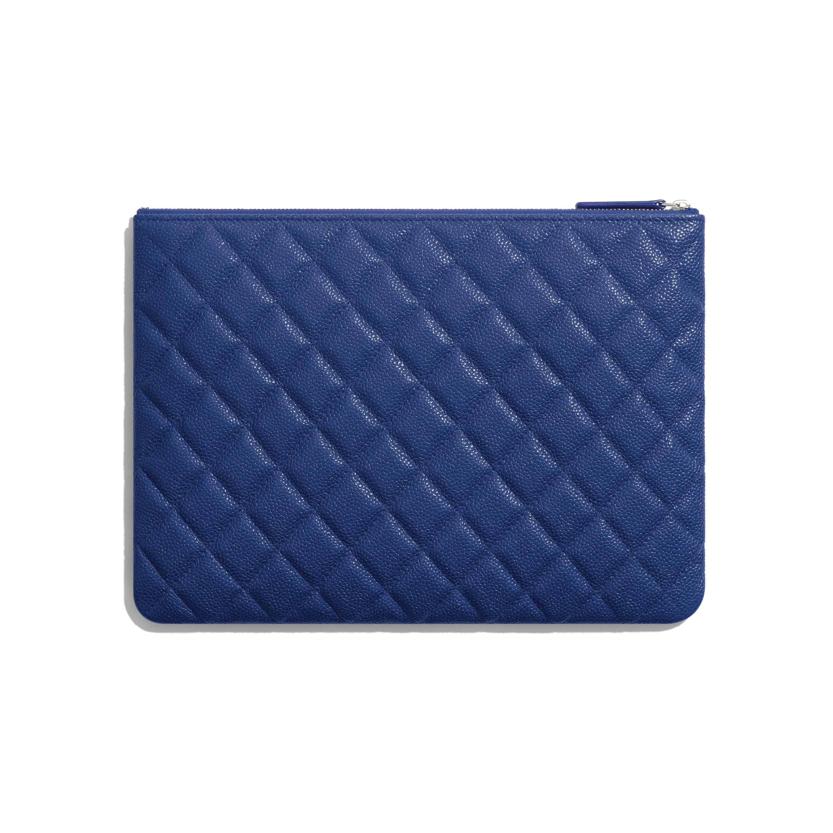 Pouch - Dark Blue - Grained Calfskin & Lacquered Metal - CHANEL - Alternative view - see standard sized version