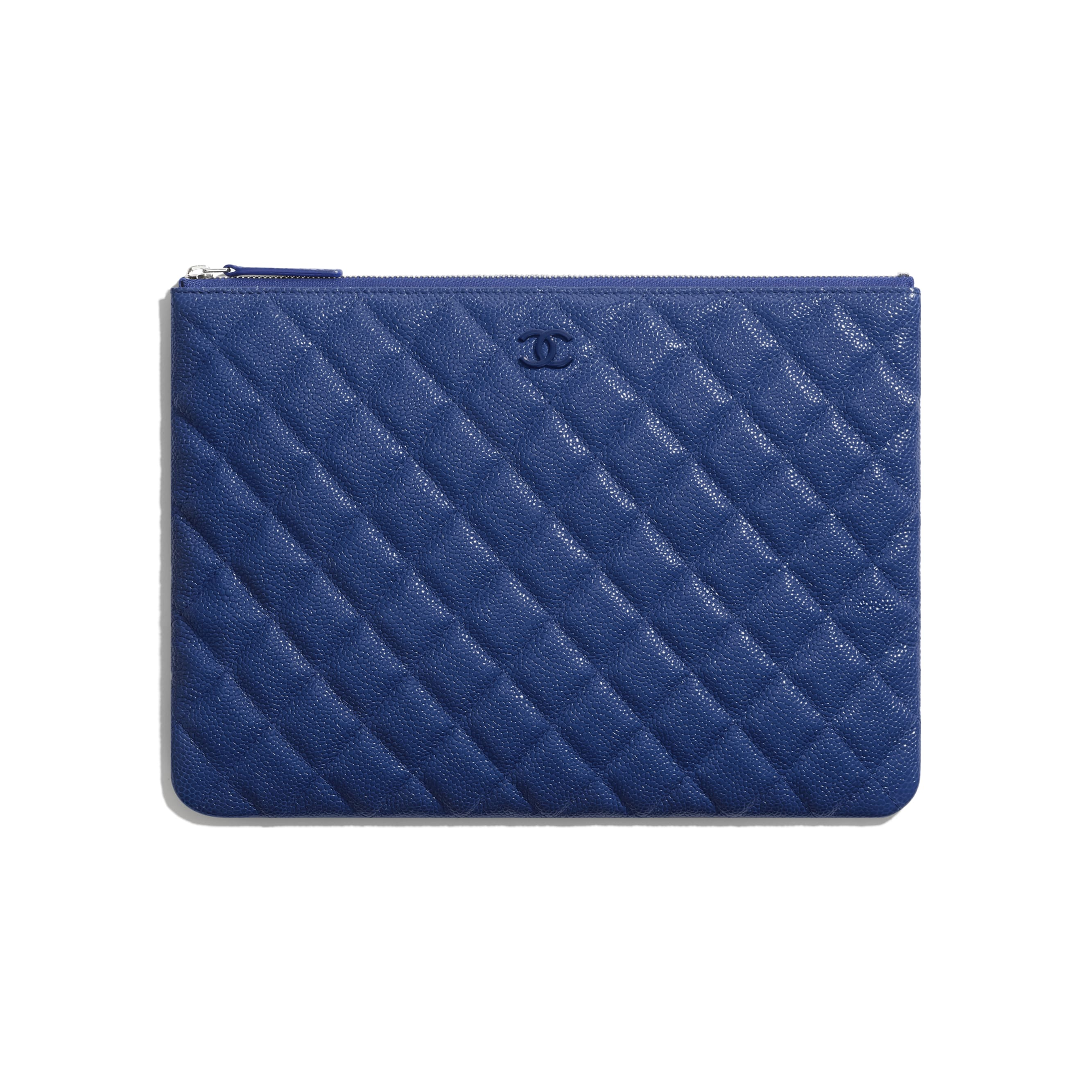 Pouch - Dark Blue - Grained Calfskin & Lacquered Metal - Default view - see standard sized version