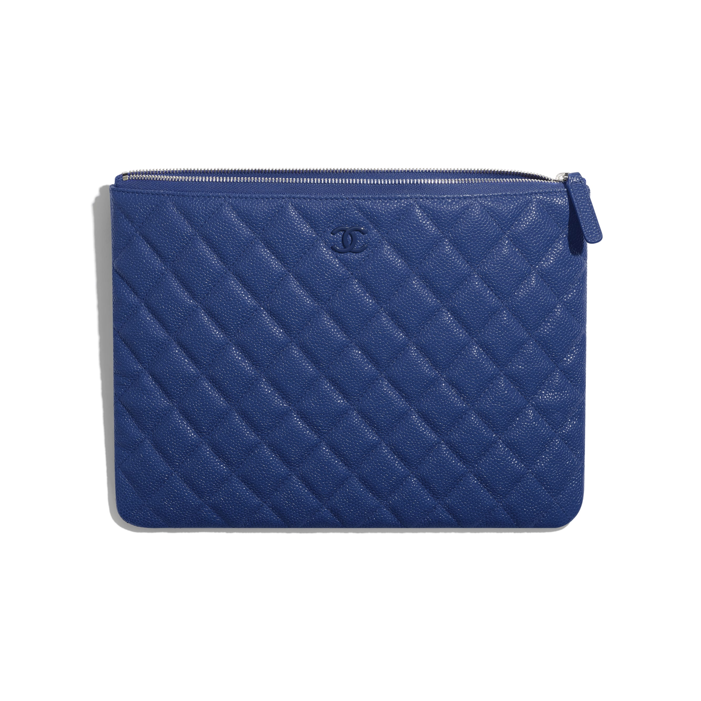 Pouch - Dark Blue - Grained Calfskin & Lacquered Metal - Other view - see standard sized version