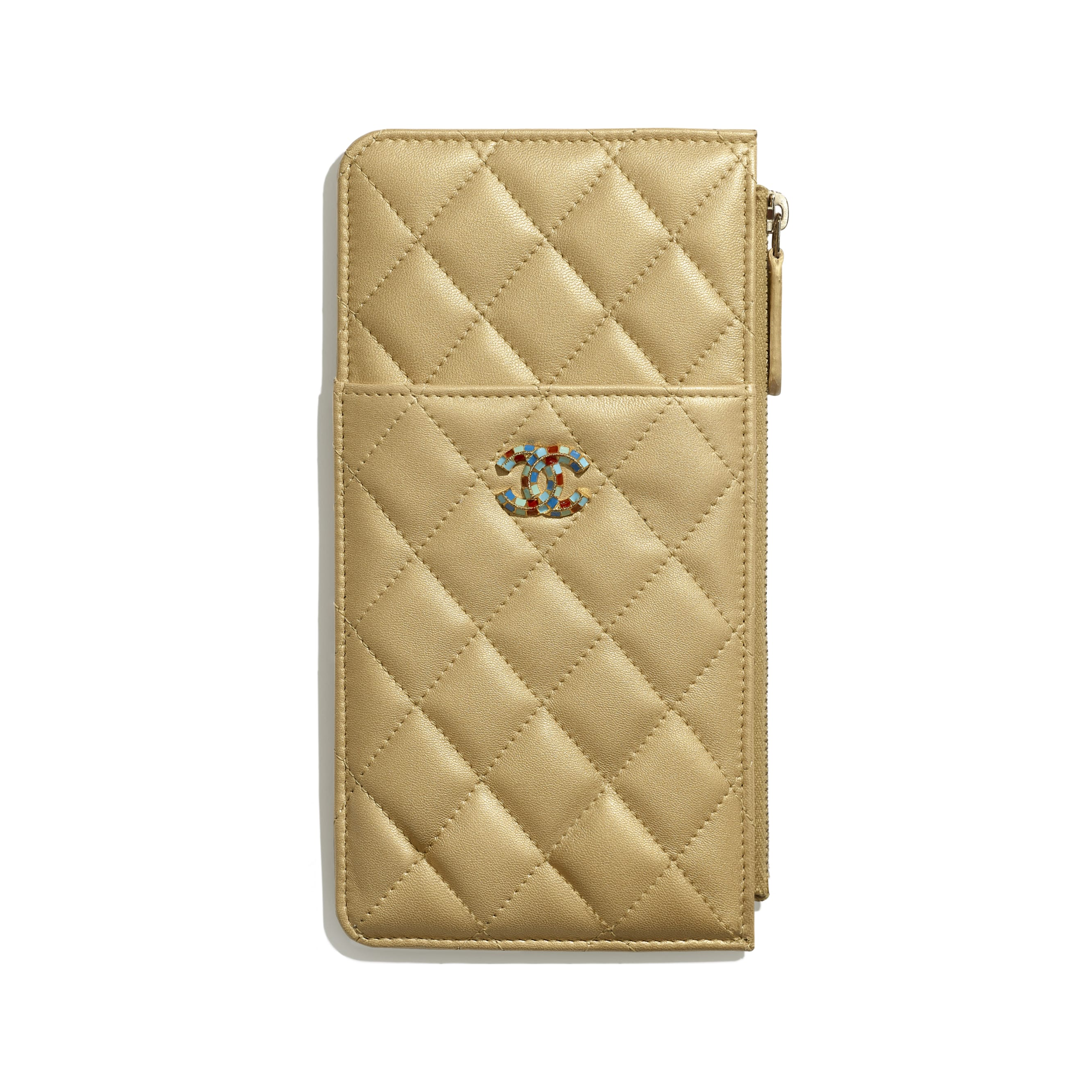 Pouch - Gold - Metallic Lambskin & Gold-Tone Metal - Default view - see standard sized version