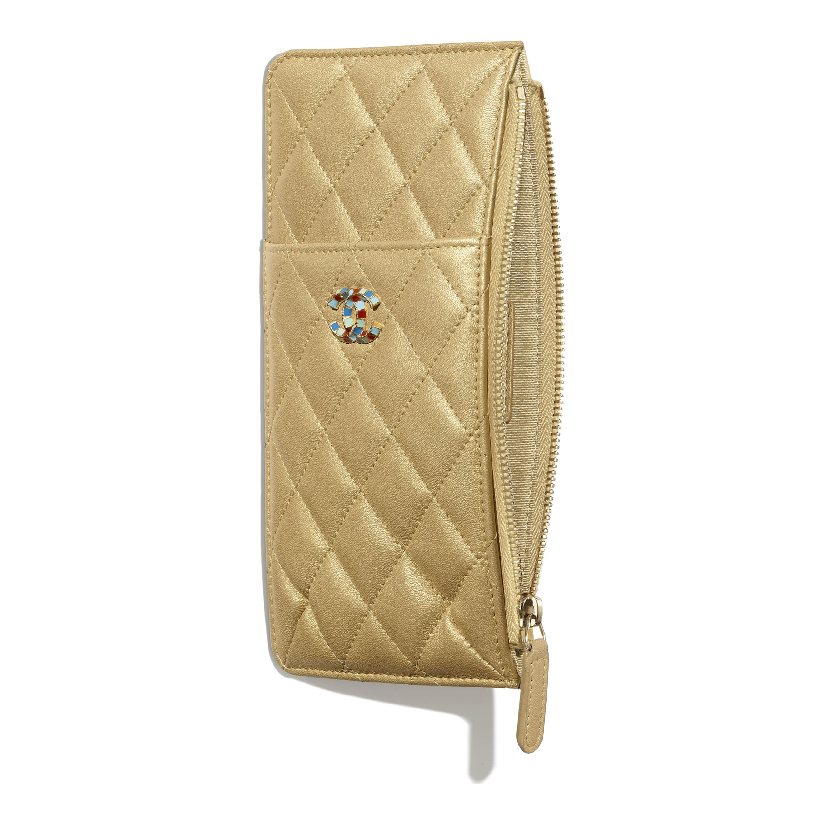 Pouch - Gold - Metallic Lambskin & Gold-Tone Metal - Other view - see standard sized version